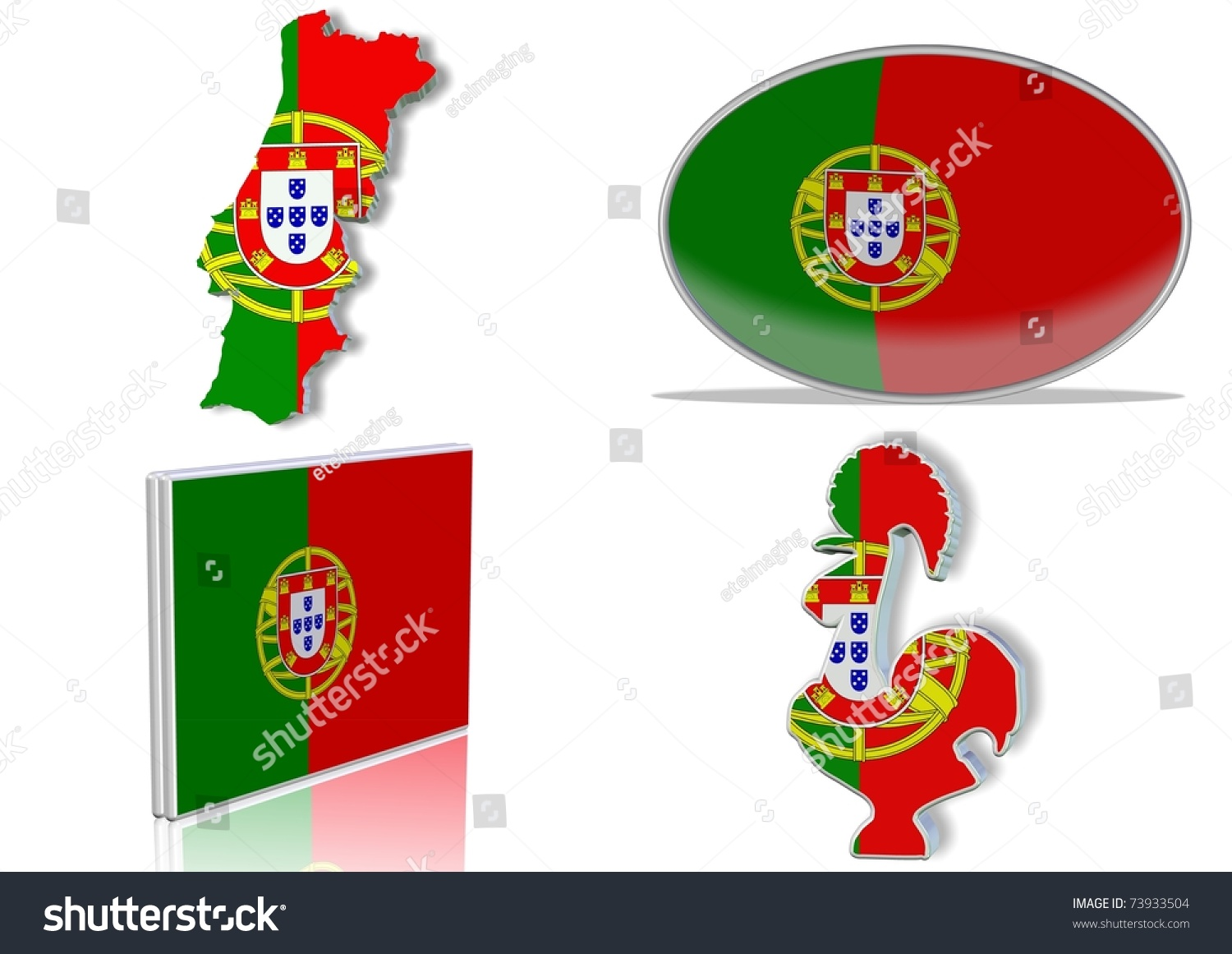 Portuguese Flag 4 Different Designs Shape Stock Illustration