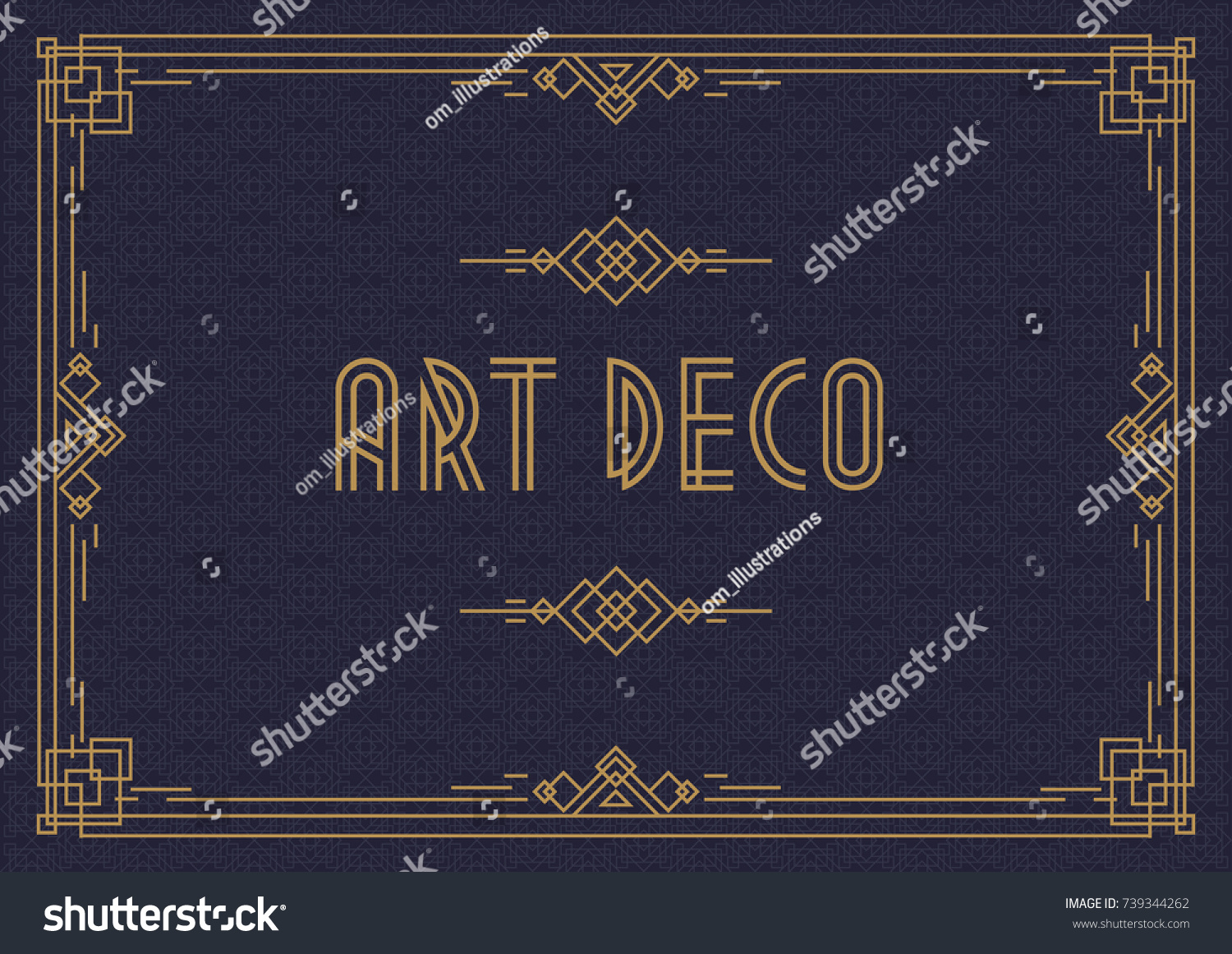 Wedding Invitation Card Template Horizontal Art Stock Vector