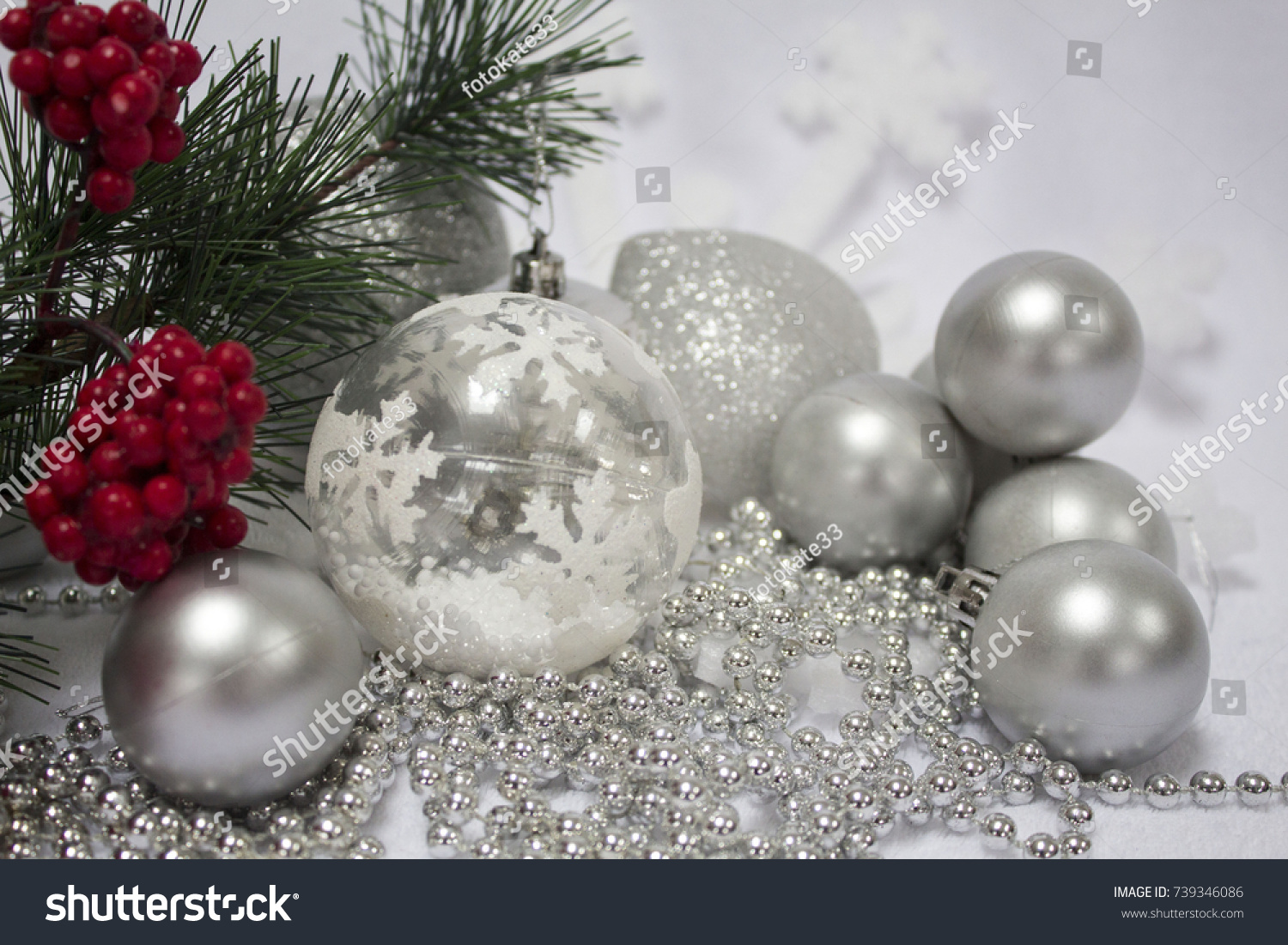 Christmas Decoration White Baubles Branches Fir Stock Photo Edit Now 739346086