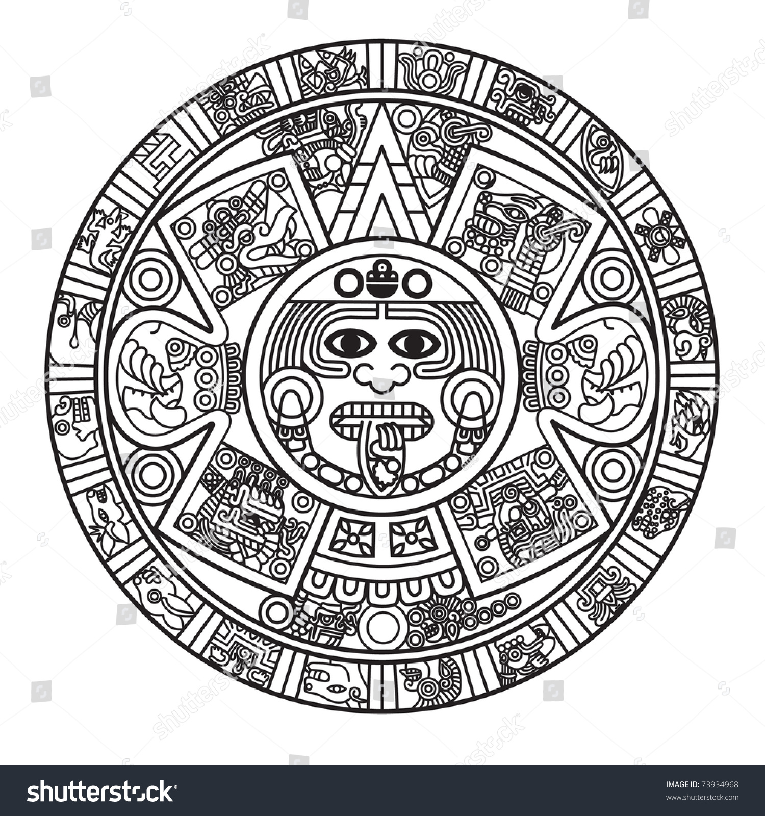 stylized aztec calendar raster version stock illustration 73934968 shutterstock. Black Bedroom Furniture Sets. Home Design Ideas