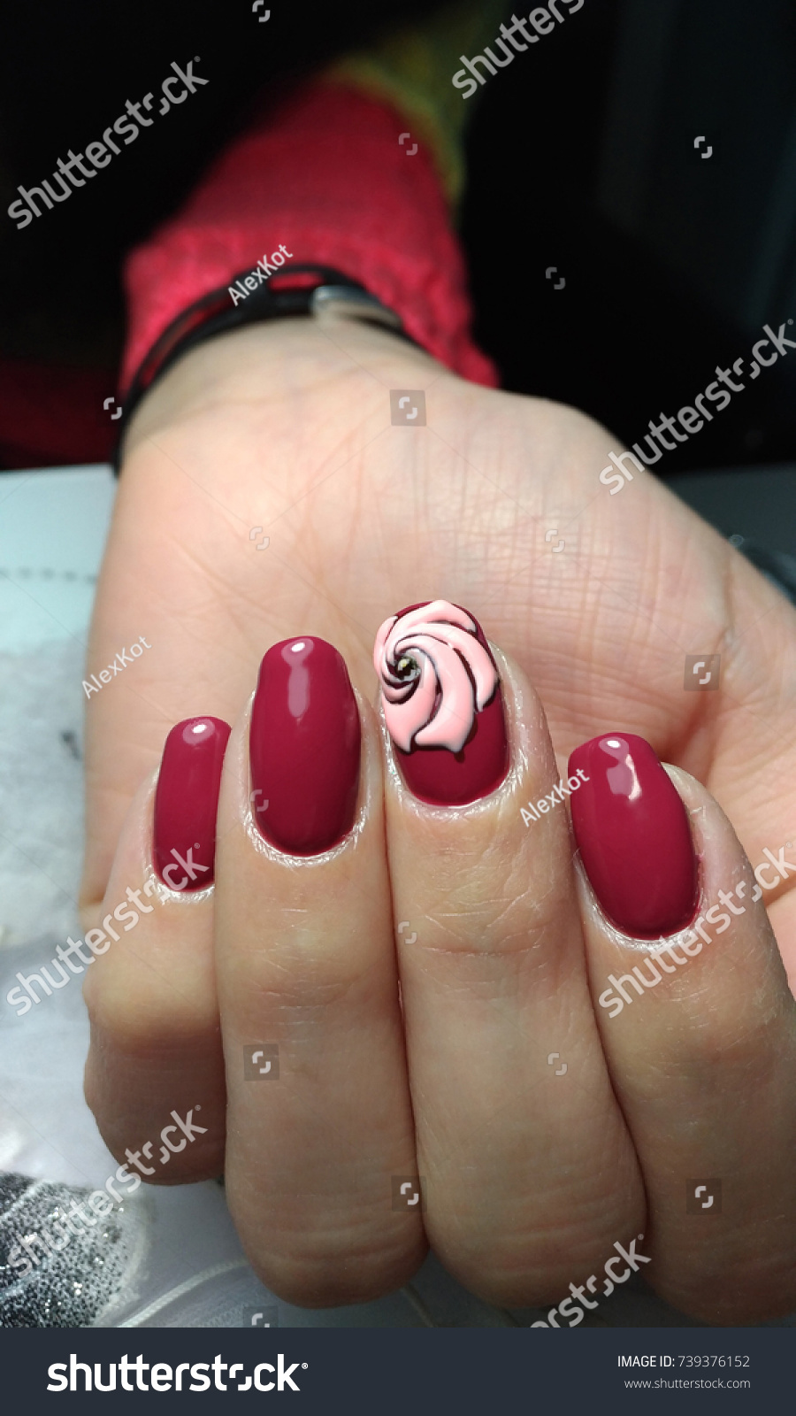 Female Hand Dark Red Nails Stock Photo 739376152 - Shutterstock