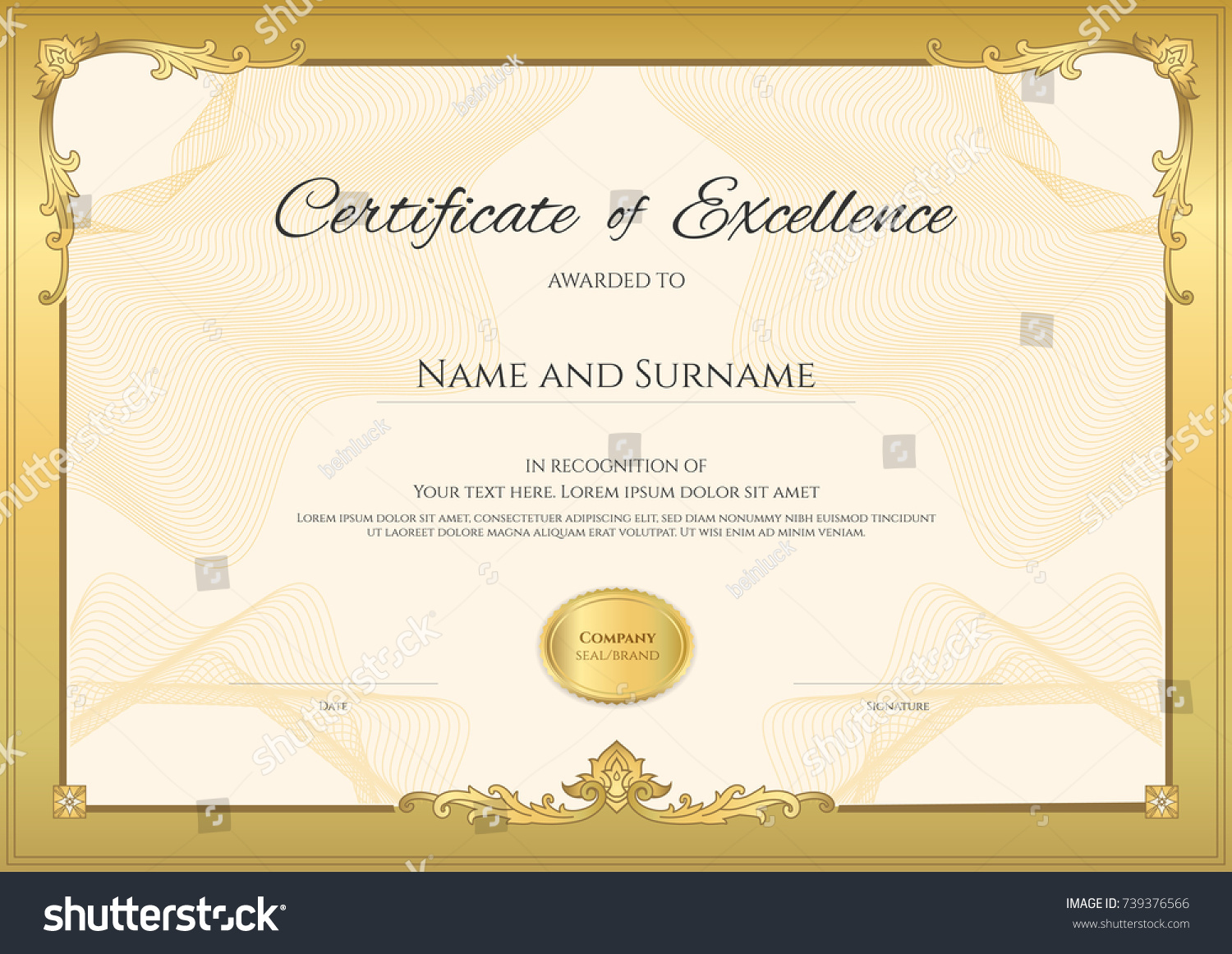 Fresh appreciation certificate format in free printable sign up luxury appreciation certificate samples excuse agreement format stock vector luxury certificate template with elegant border frame yadclub