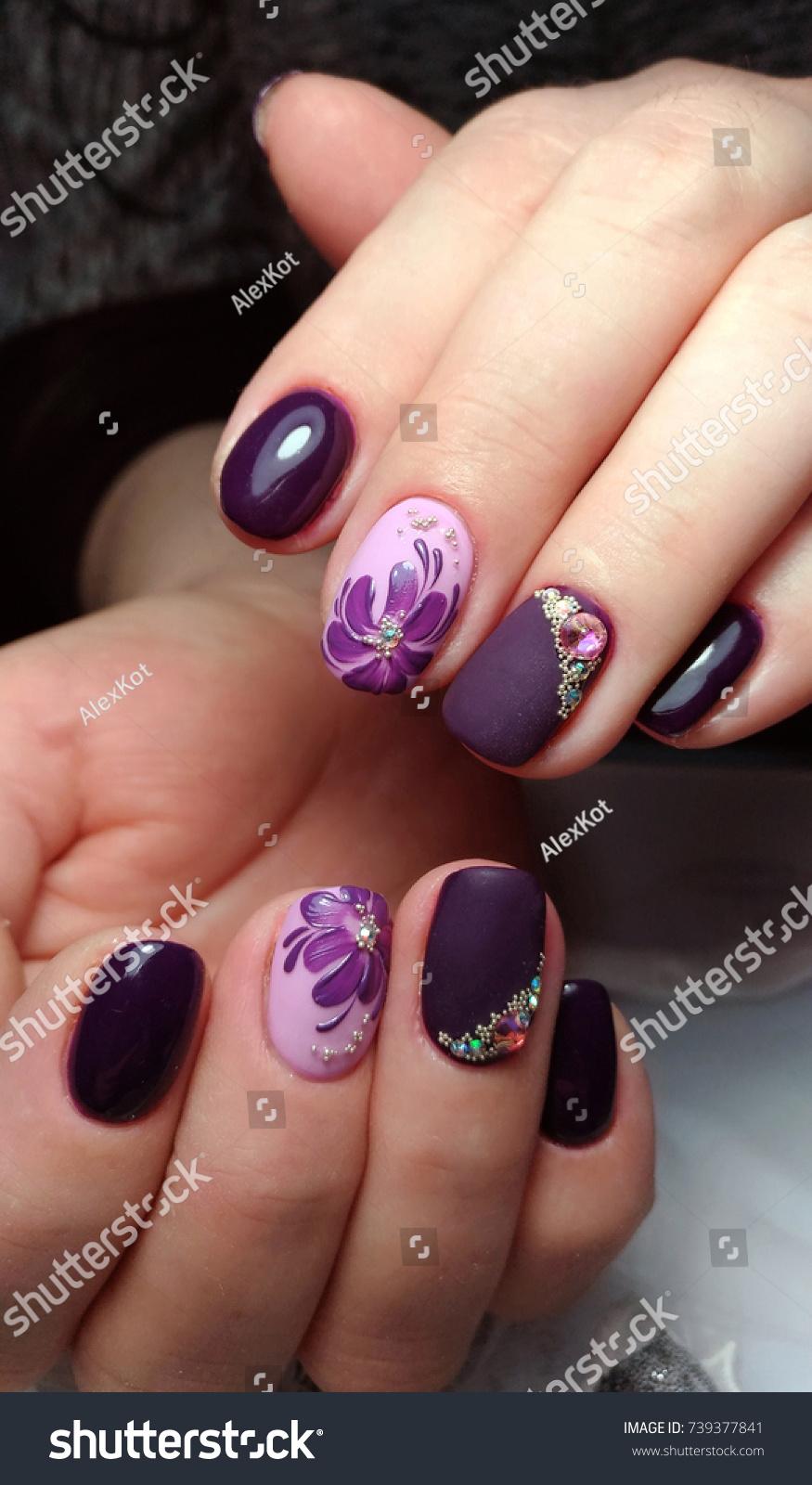 Beautiful Dark Nail Design Rhinestones Purple Stock Photo 739377841 ...