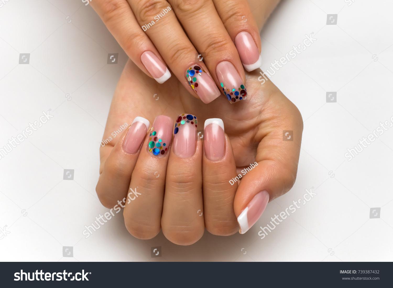 Wedding French White Manicure Sparkles Confetti Stock Photo (Safe to ...