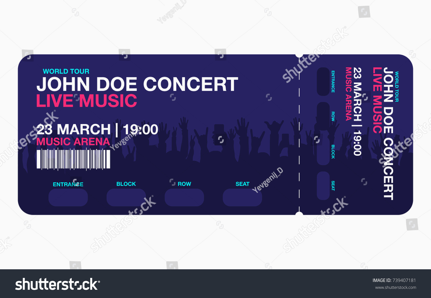 concert ticket template concert party festival stock vector royalty