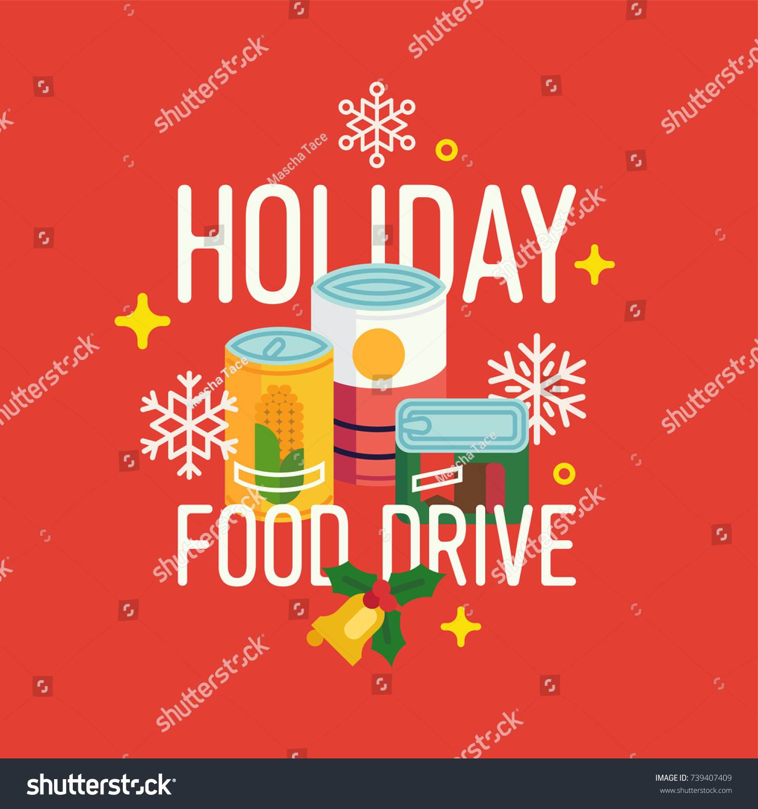 Holiday food drive vector concept illustration. Winter season charity food bank themed poster or banner design