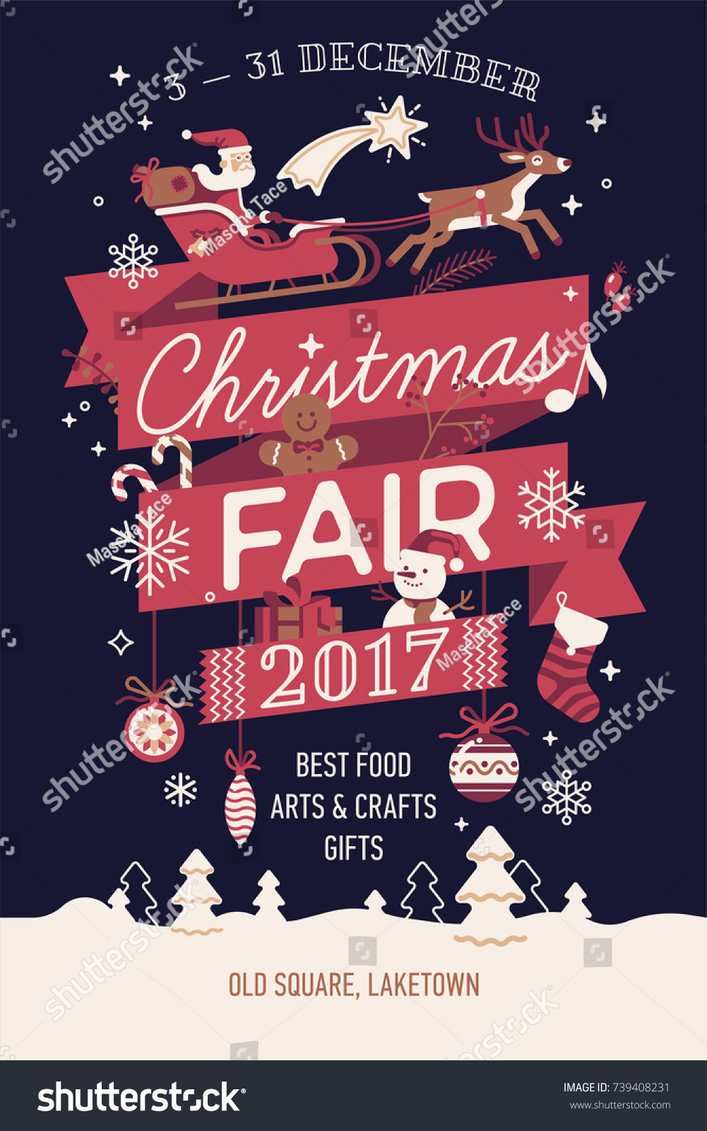 beautiful vector christmas fair poster banner stock vector