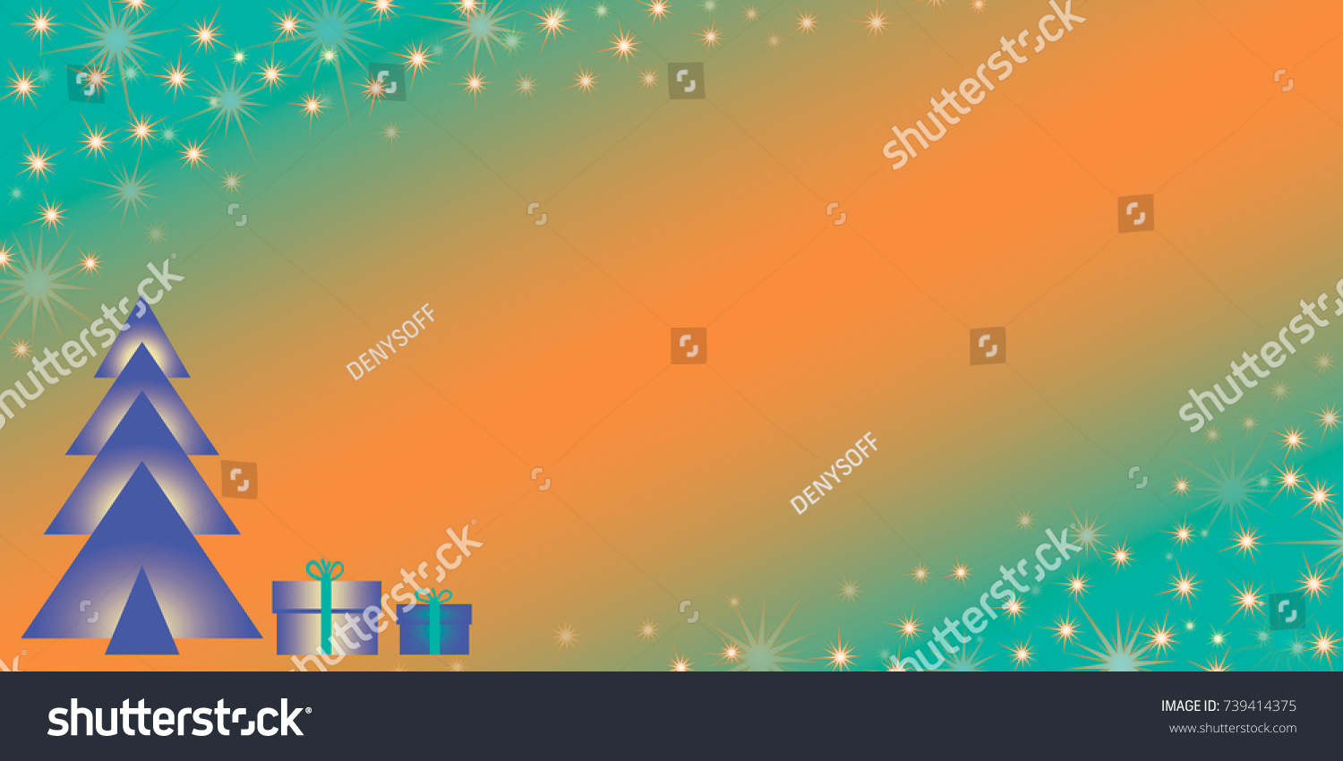 blue christmas tree with gifts on a turquoise orange gradient