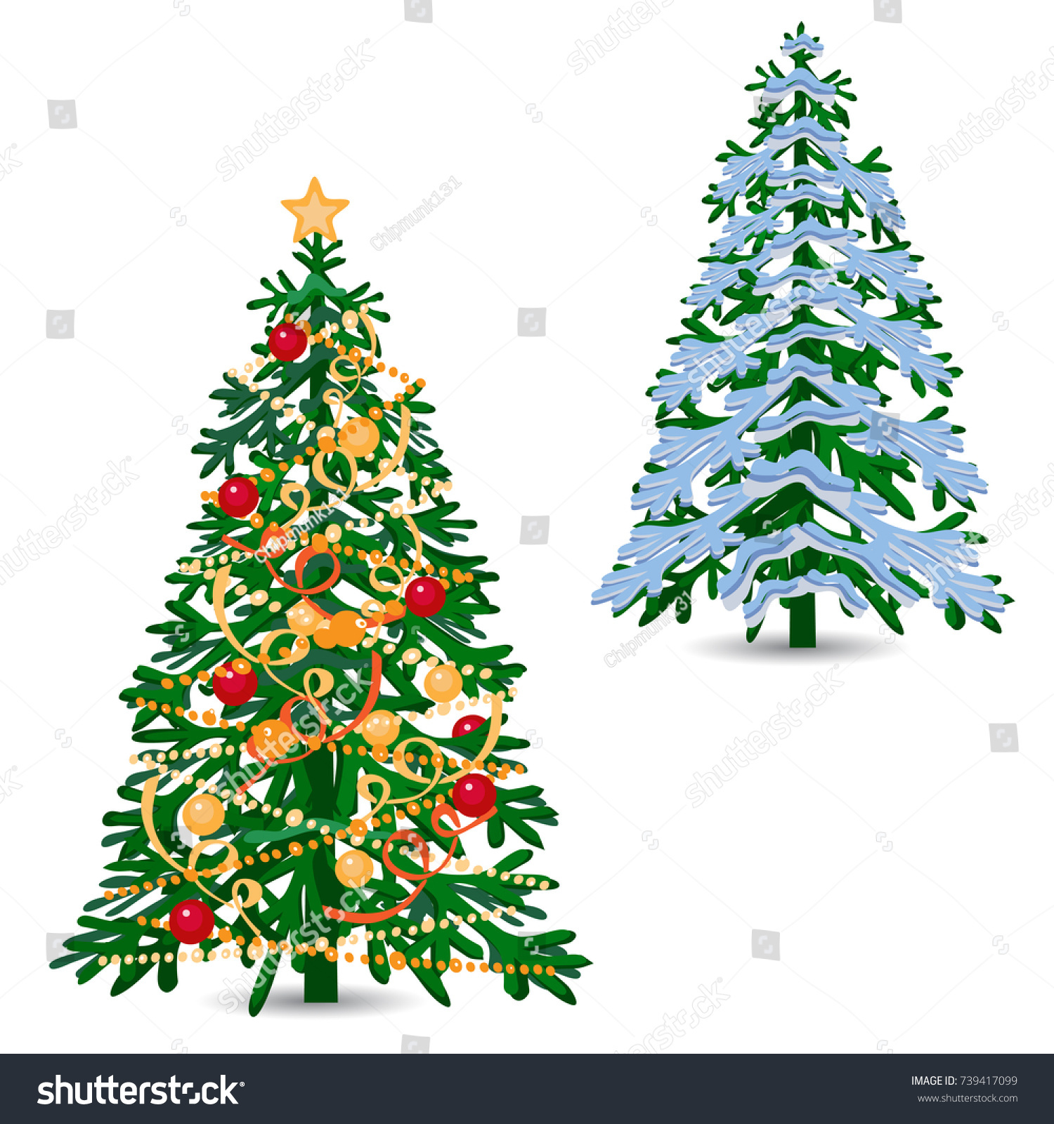 Vector Silhouettes Christmas Tree Spruce Different Stock Vector ...