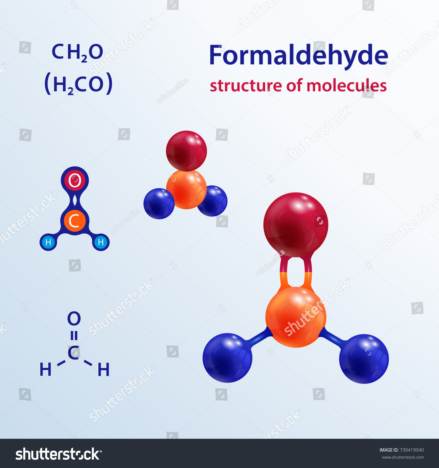 Structure Molecules 3 D Formaldehyde Formalin Stock Vector Royalty