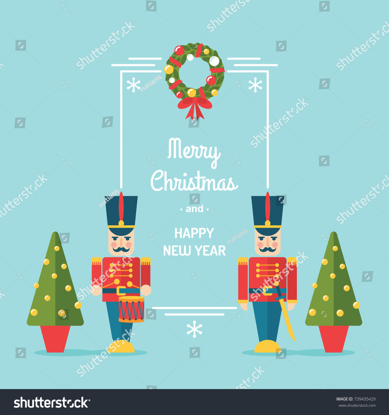 Nutcracker Toy Soldiers Christmas Winter Holidays Stock Vector ...