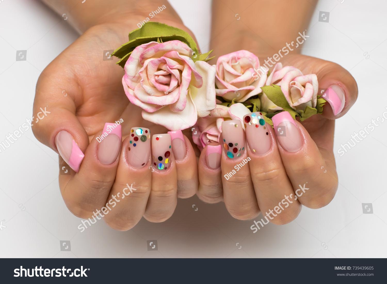Wedding French White Manicure Sparkles Confetti Stock Photo (Royalty ...