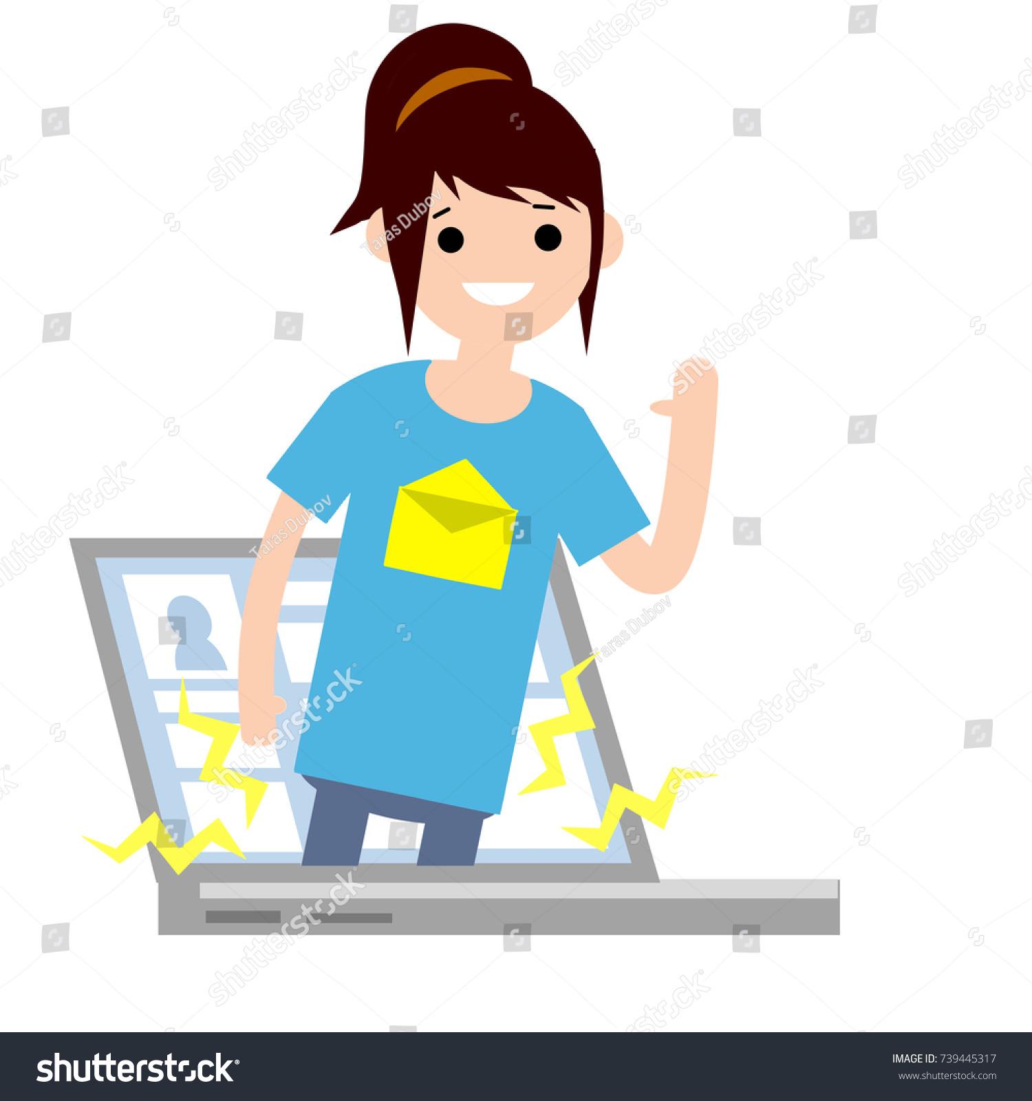 cartoon flat illustration girl ponytail comes stock vector hd rh shutterstock com Music Notes Graphics Music Note Clip Art