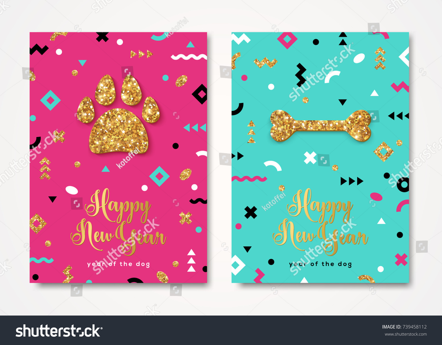 2018 new year greeting card shining stock vector hd royalty free 2018 new year greeting card with shining gold dog paw print and bone vector illustration m4hsunfo