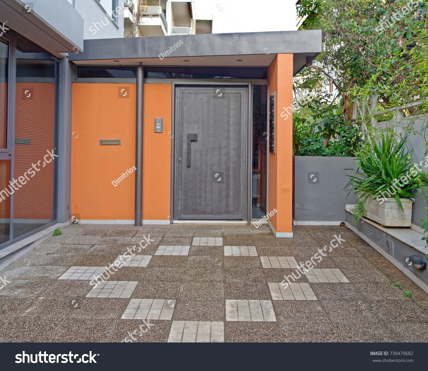Modern house colorful entrance athens greece