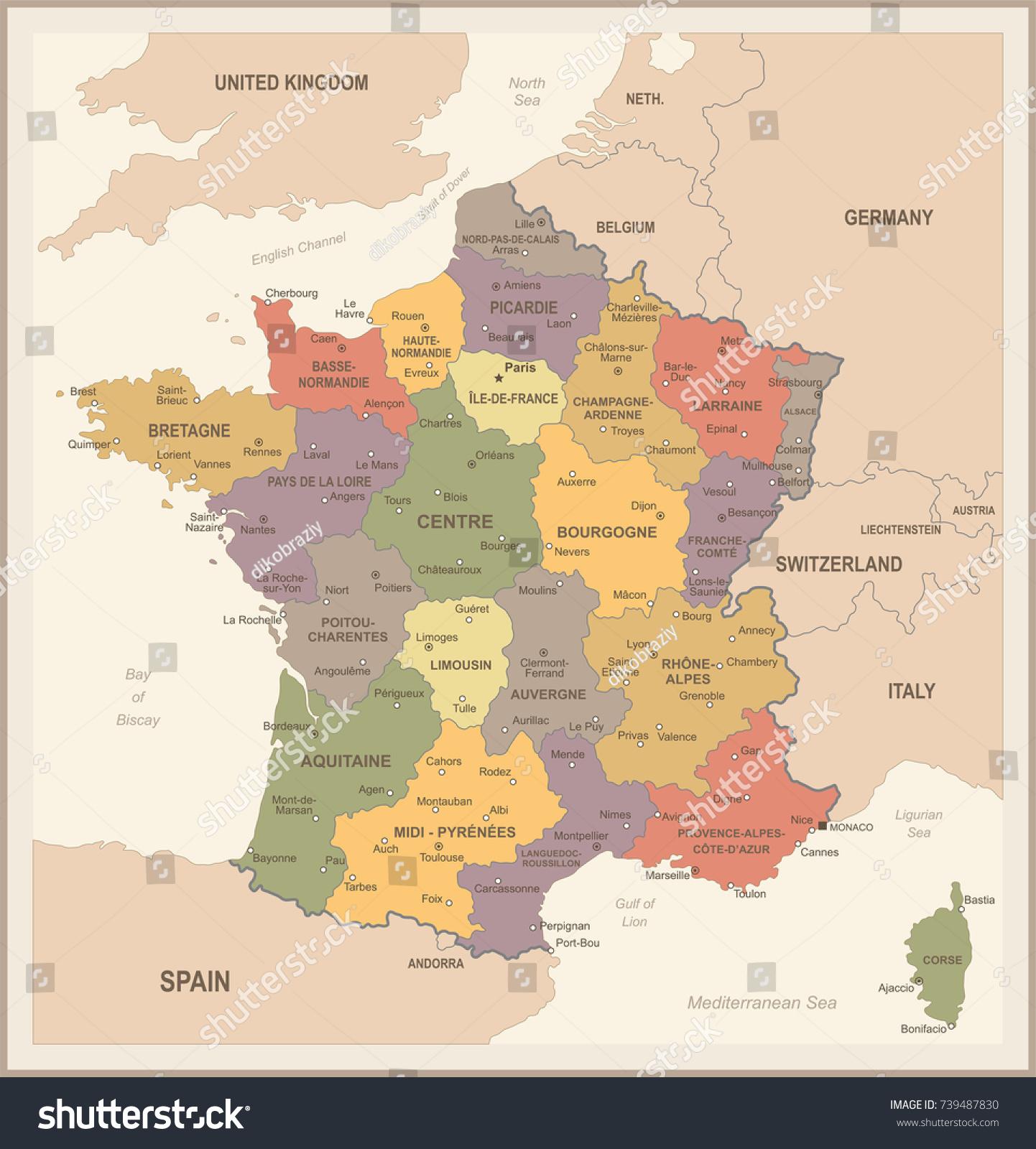 France Map Vintage Detailed Vector Illustration Stock Photo Photo