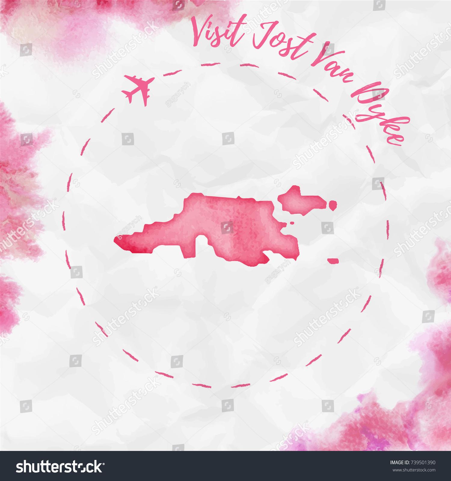 Jost Van Dyke Watercolor Island Map Stock Vector 739501390