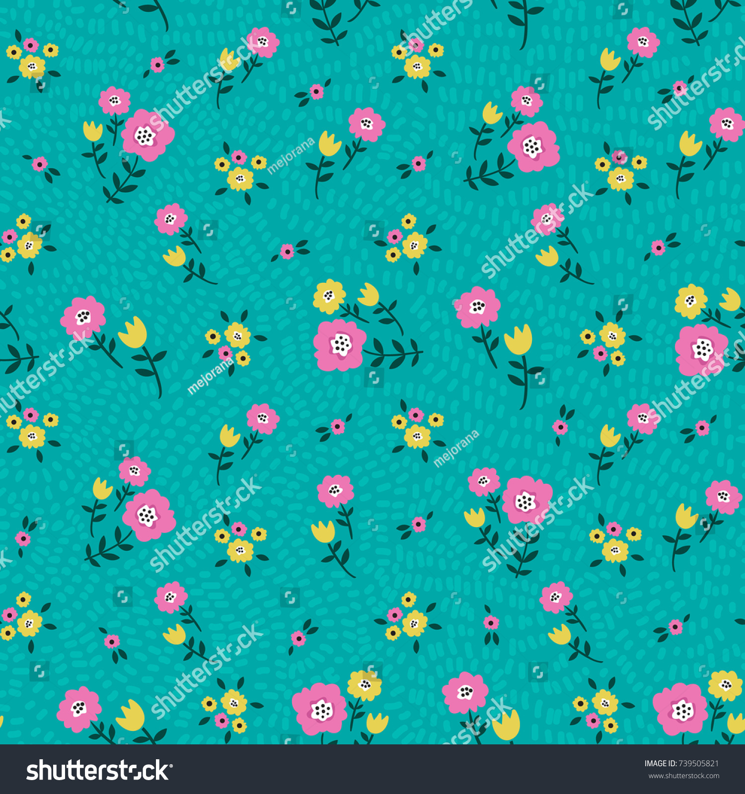 Floral Seamless Colorful Pattern Yellow Pink Stock Vector Royalty