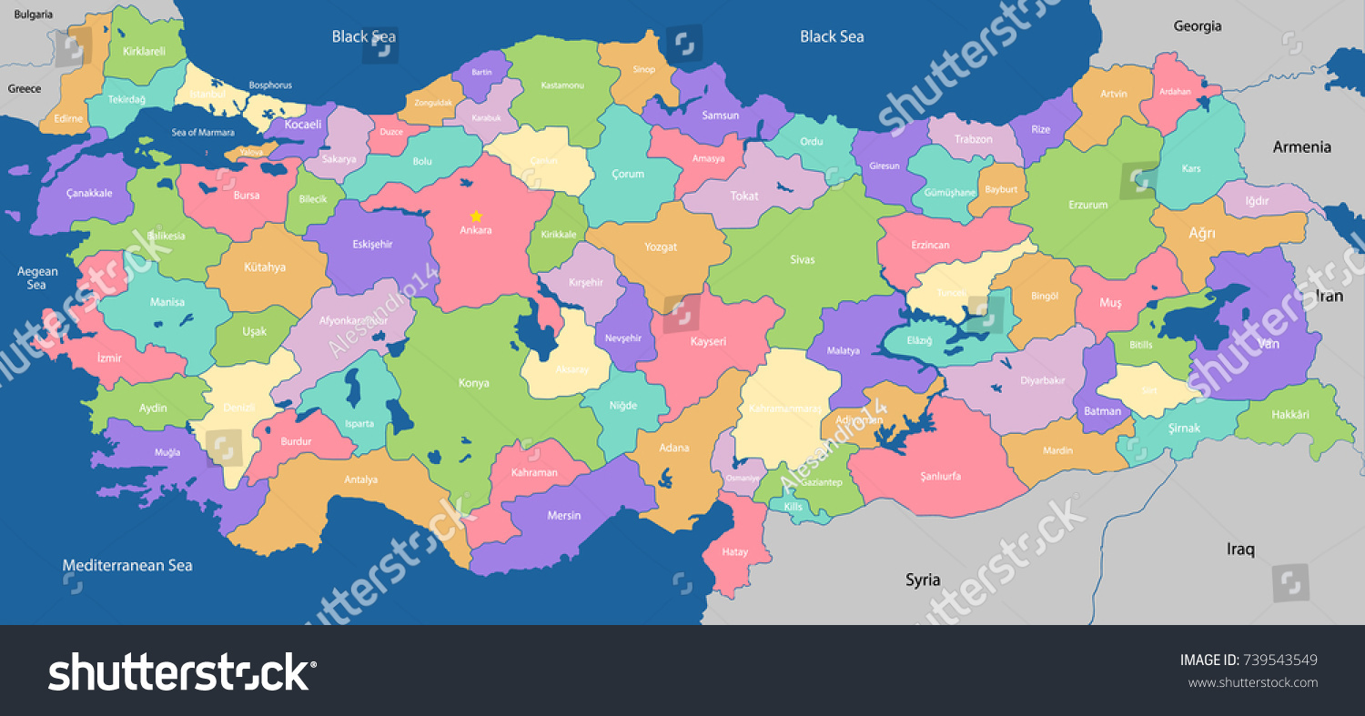 Large Colorful Detailed Map Turkey All Stock Vector 739543549