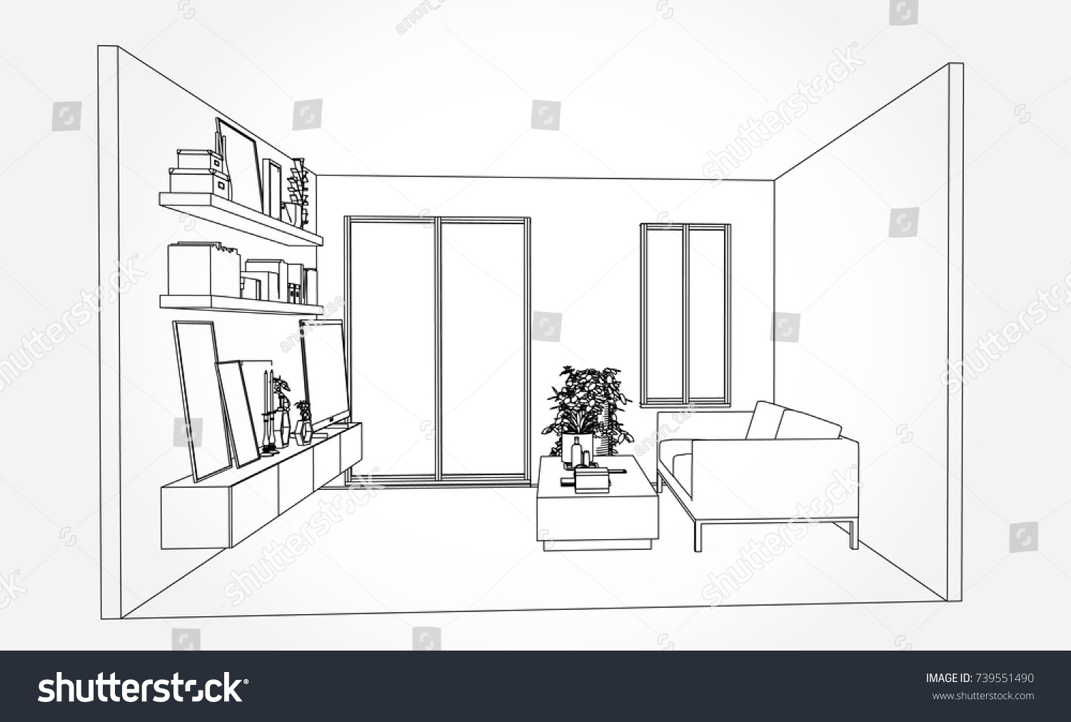 Linear Sketch Interior Living Room Plan Stock Vector HD (Royalty ...
