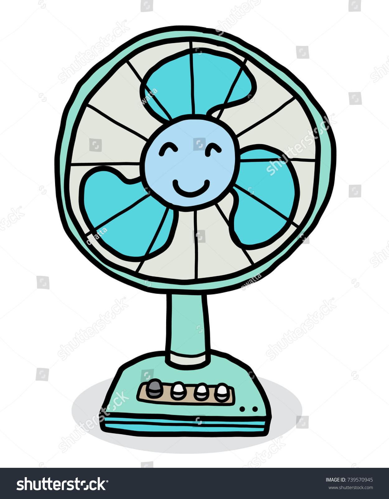 Electric Fan Cartoon : Smile electric fan cartoon vector illustration stock