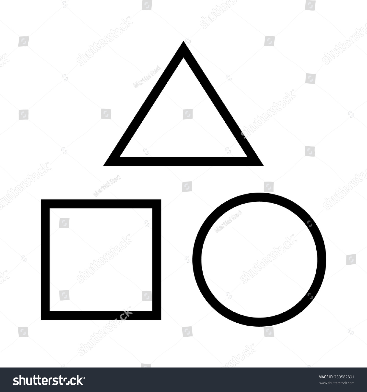 Geometric Shapes Triangle Square Circle Line Stock Vector 2018