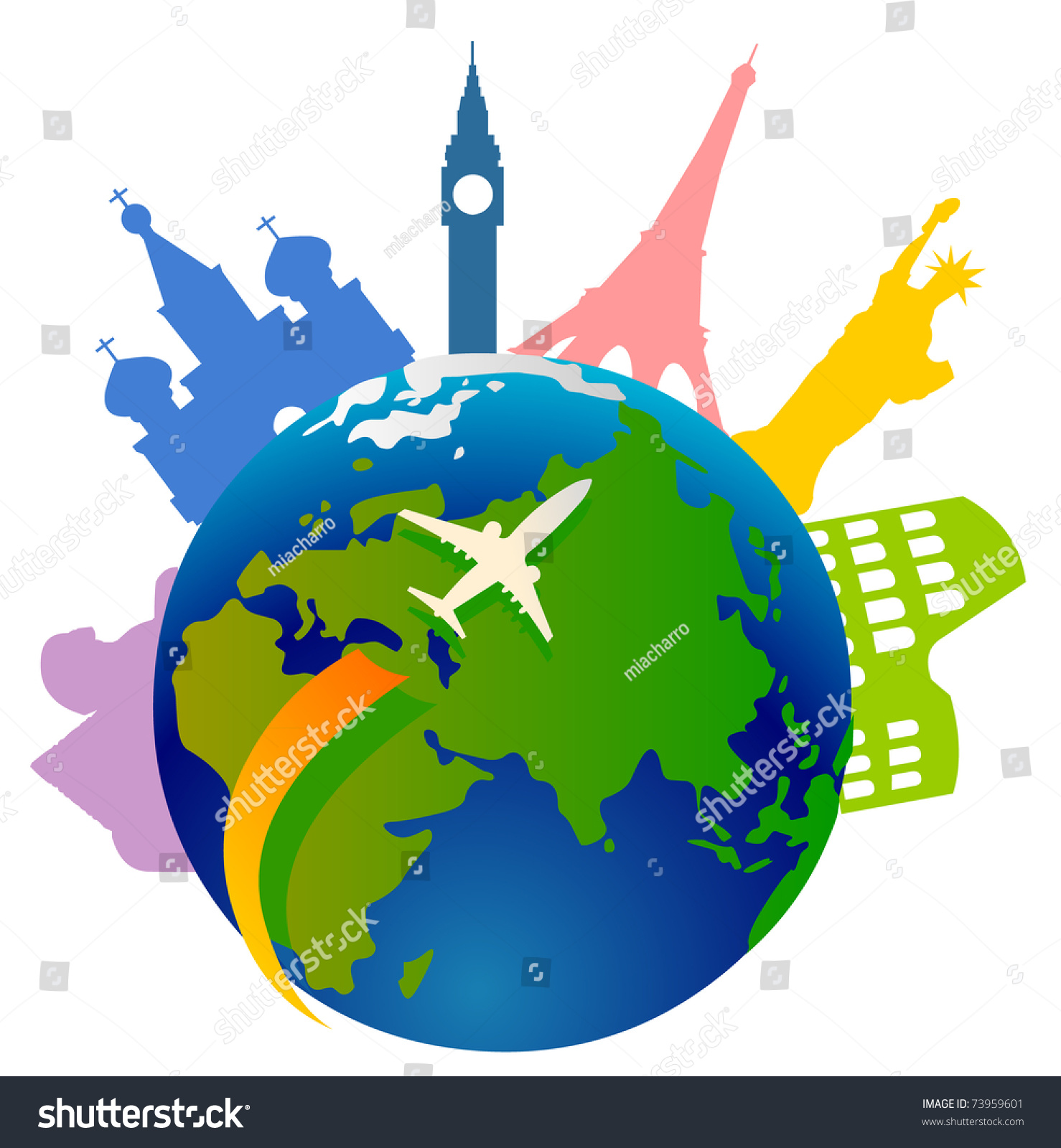 Plane traveling around world few important stock vector for All around the world cruise