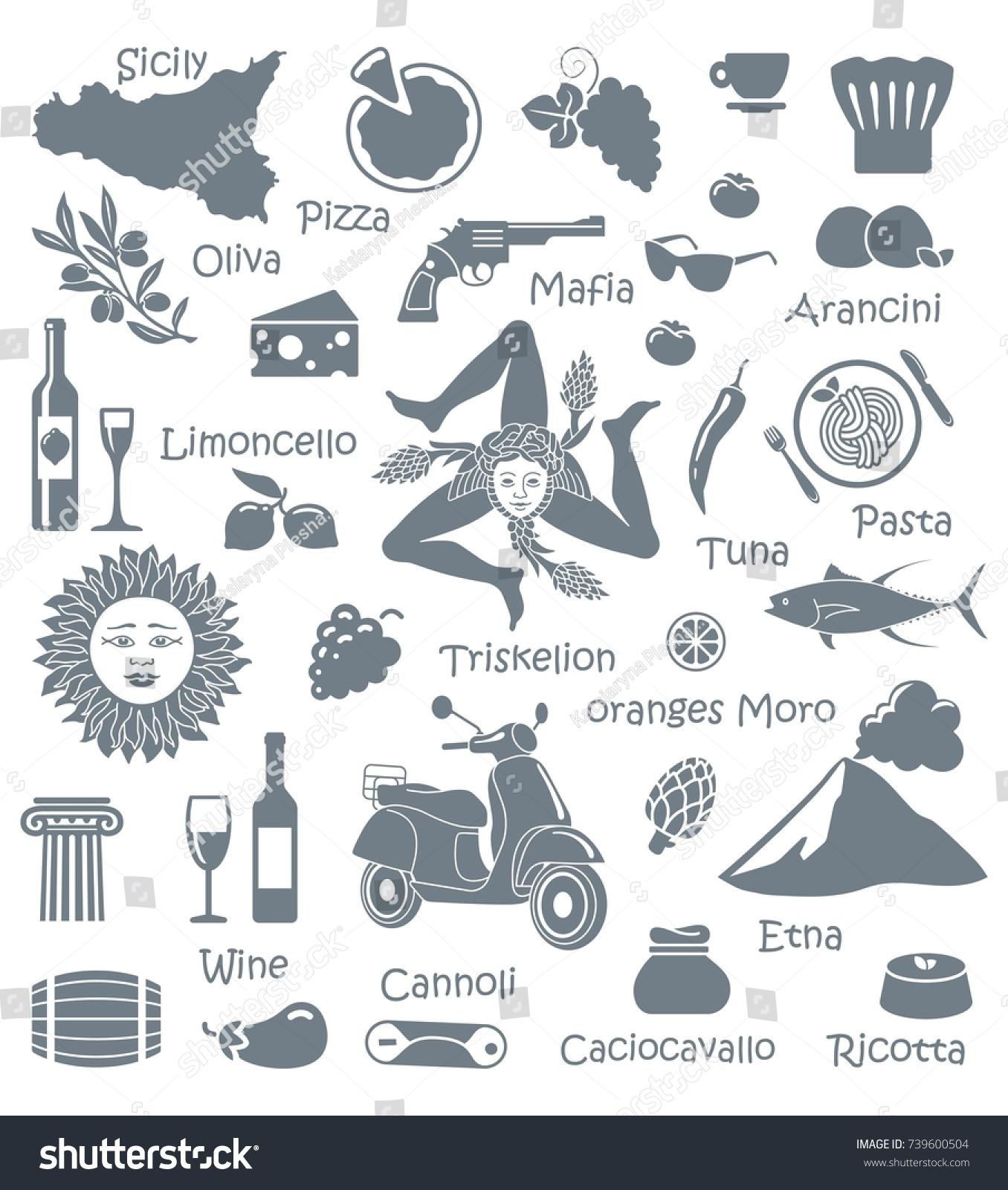 Traditional Symbols Nature Cuisine Culture Sicily Stock Vector