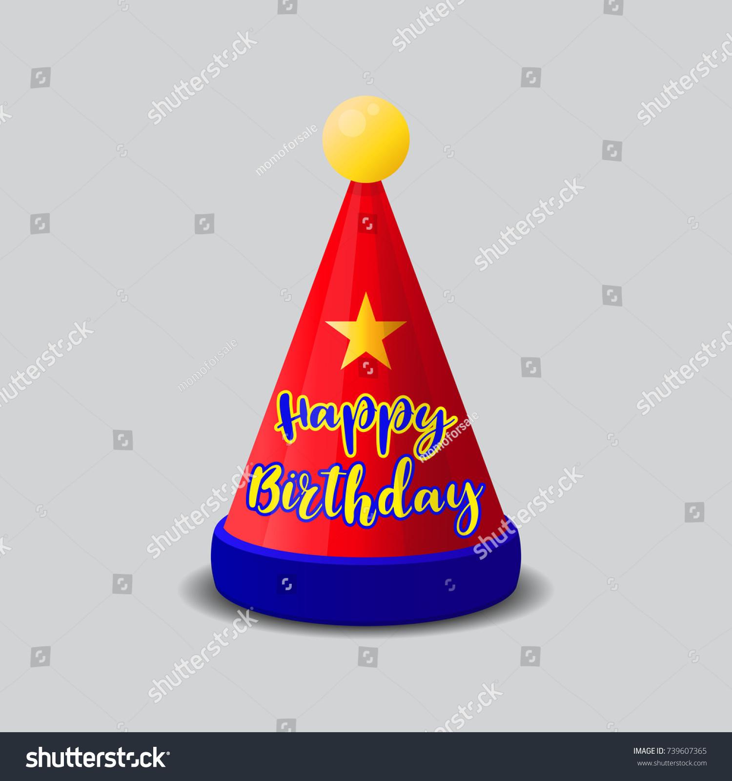 birthday hat vector illustration stock vector 2018 739607365 rh shutterstock com happy birthday hat vector happy birthday hat vector