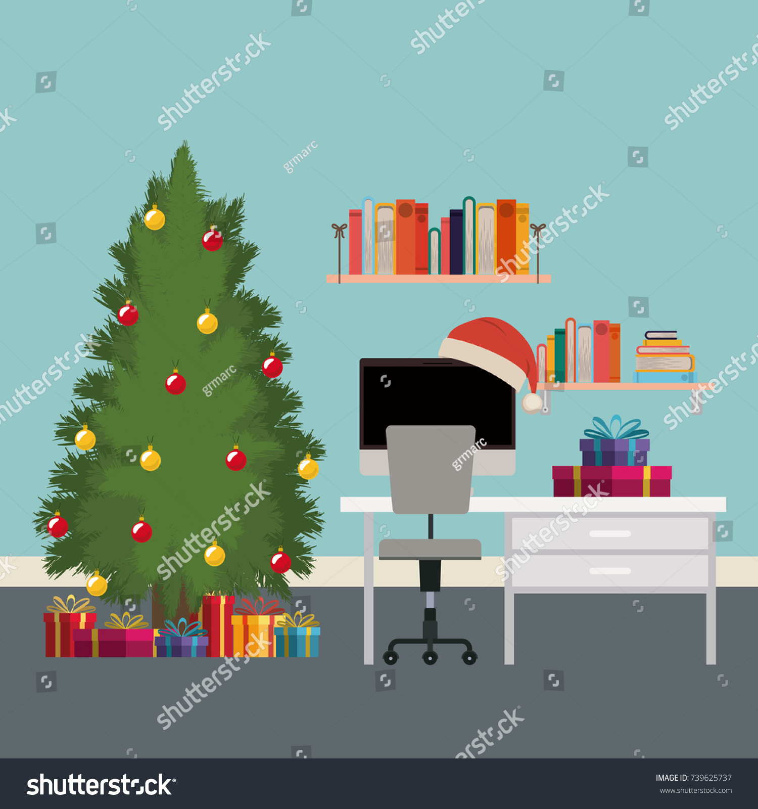 Christmas Scene Office Desk Tree Gifts Stock Vector (Royalty Free ...
