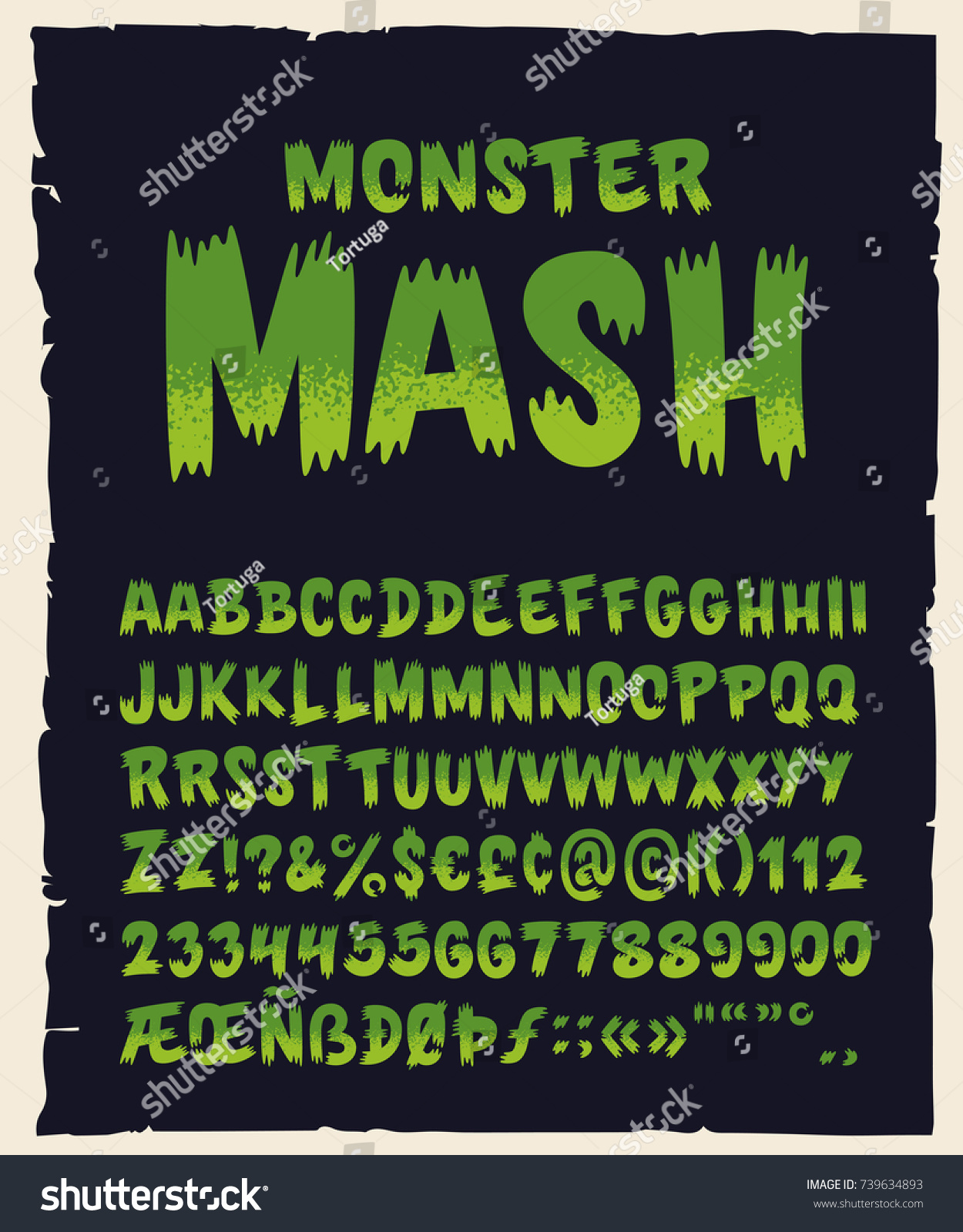 vintage hand drawn typeface monster mash stock vector (royalty free