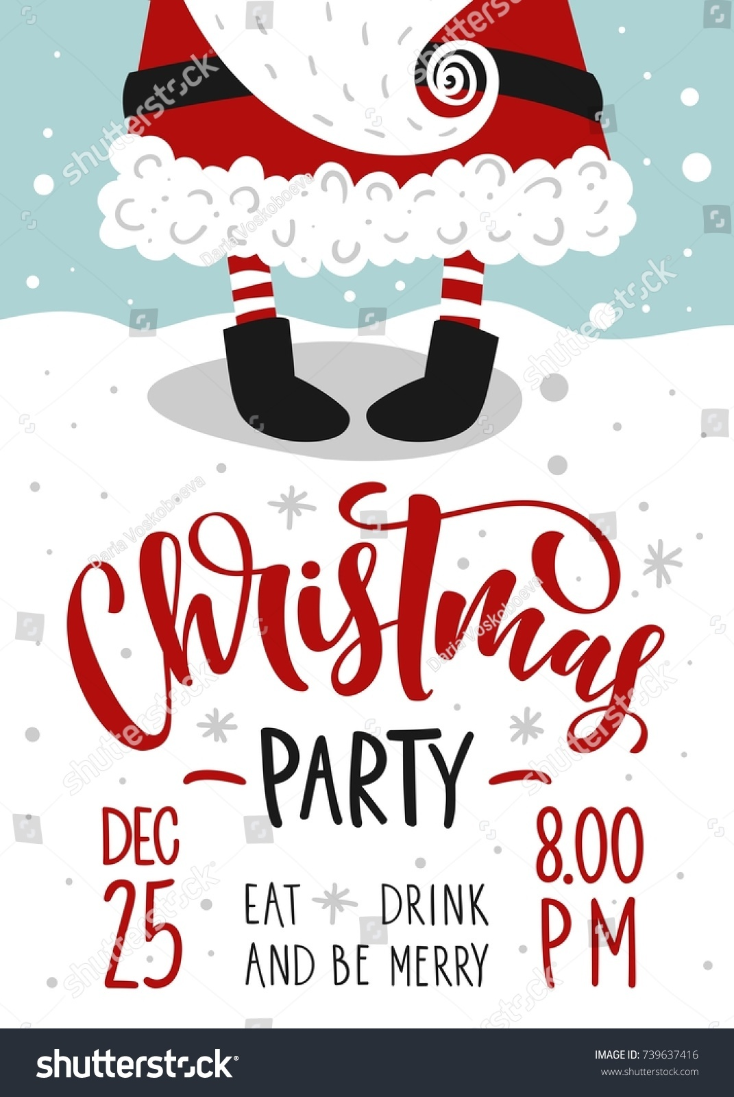 Christmas Party Invitation Vector Template Calligraphy Stock Vector ...