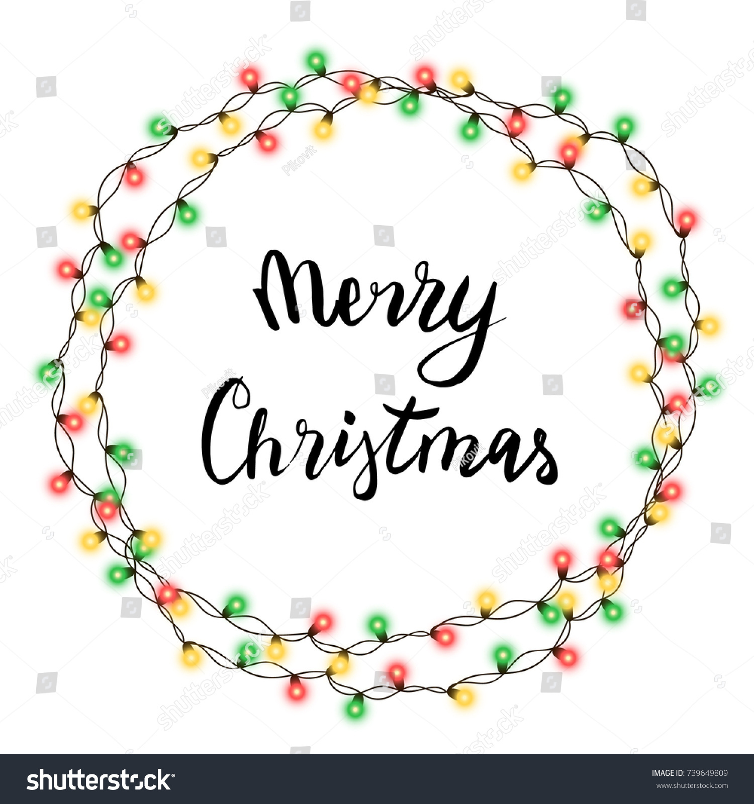 Christmas tree string garland circle shape stock vector