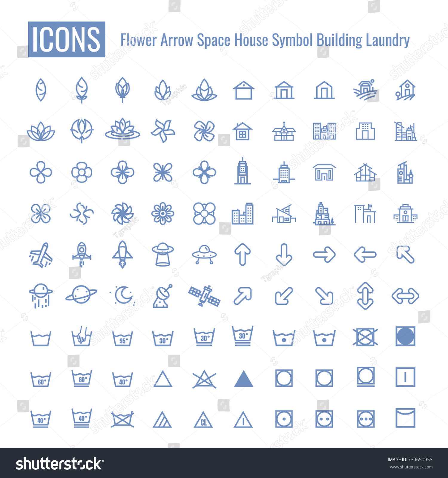 Icons Flower Arrow Space Building House Stock Vector 739650958