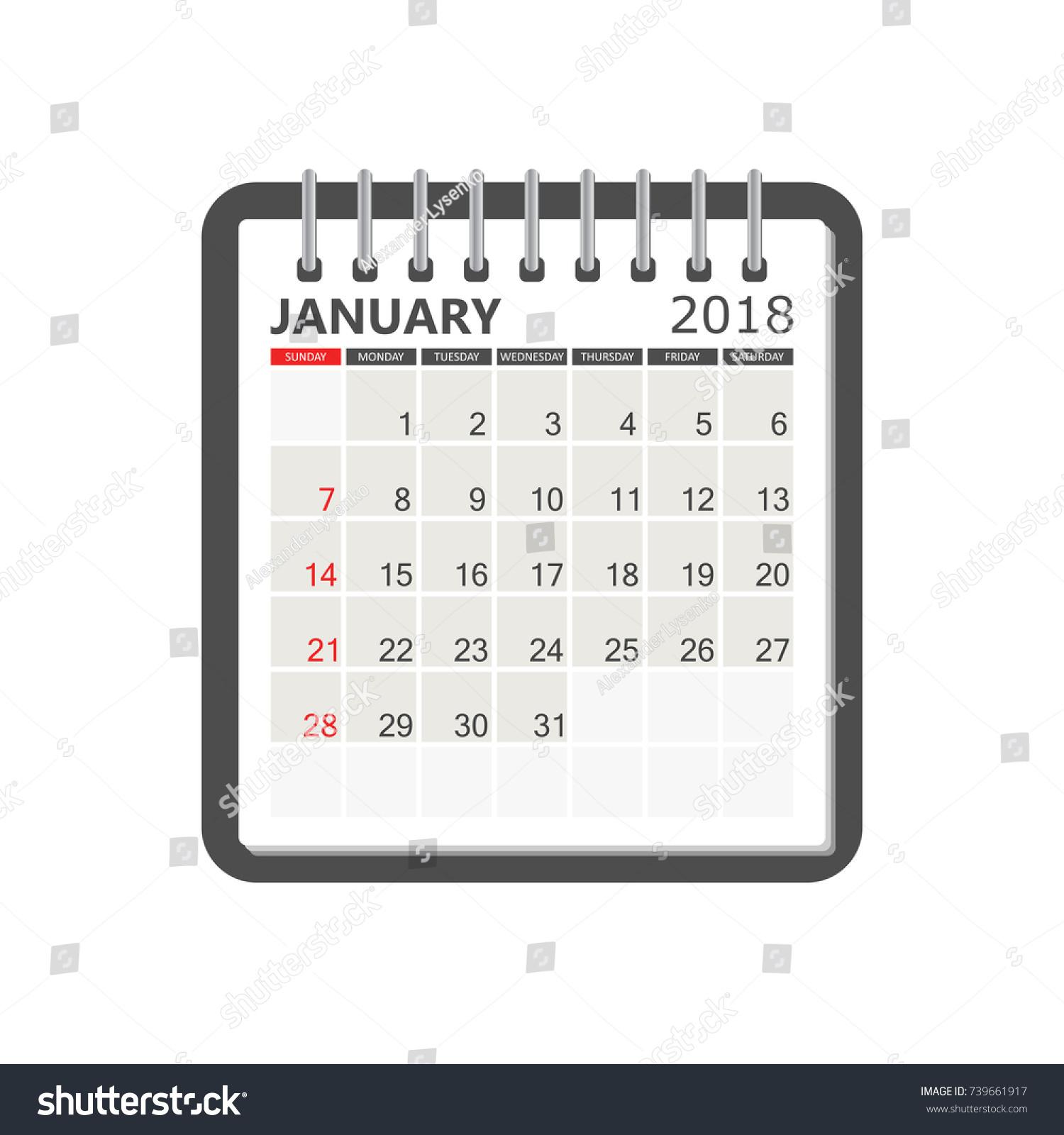 Calendar Notebook Template : January calendar notebook page stock vector