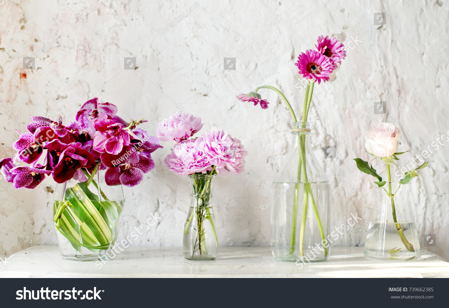 A Row Of Vases With Pink Flowers Ez Canvas