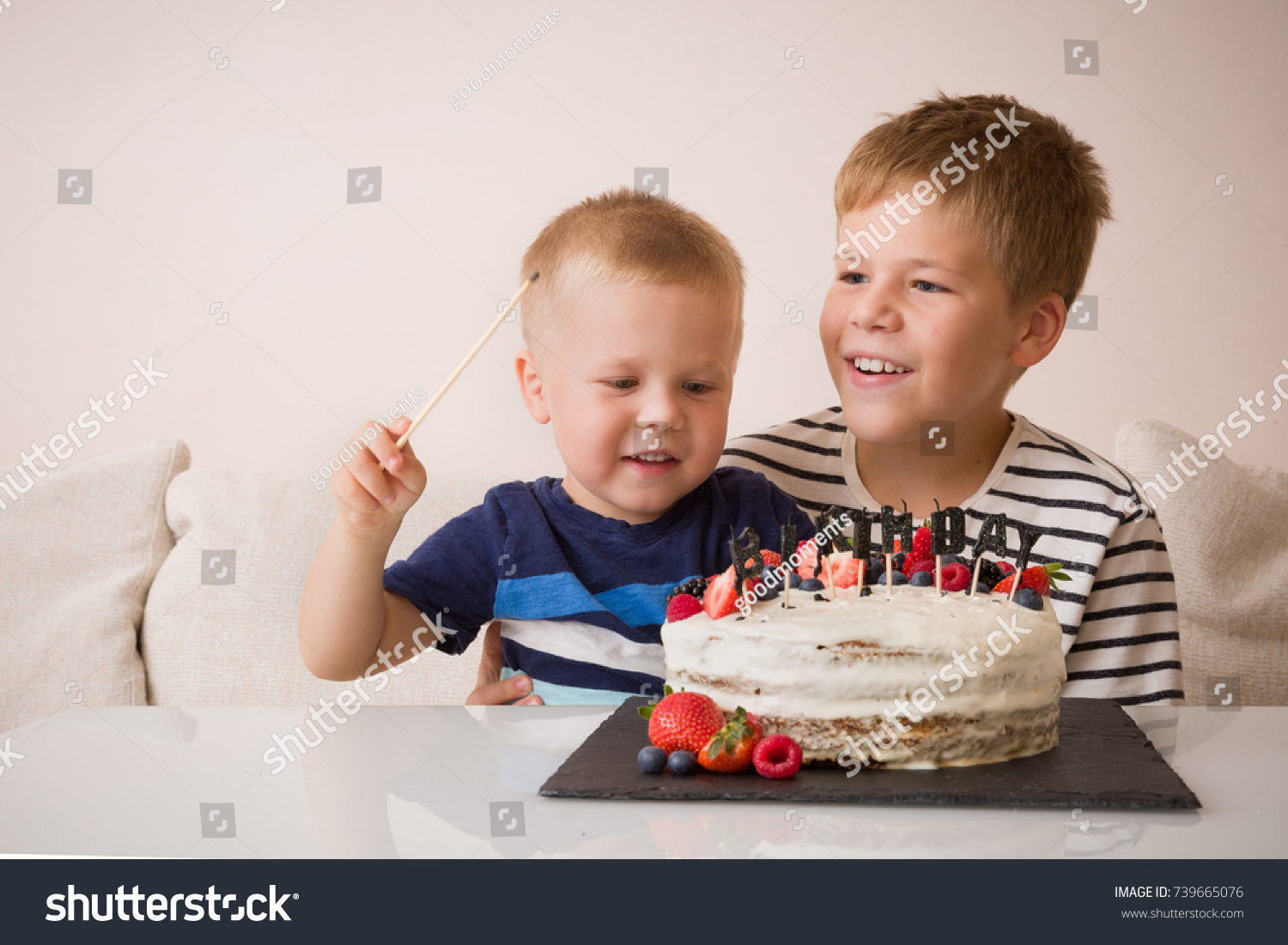 Superb Portrait Two Smiling Cute Boys Birthday Stock Photo Edit Now Birthday Cards Printable Nowaargucafe Filternl