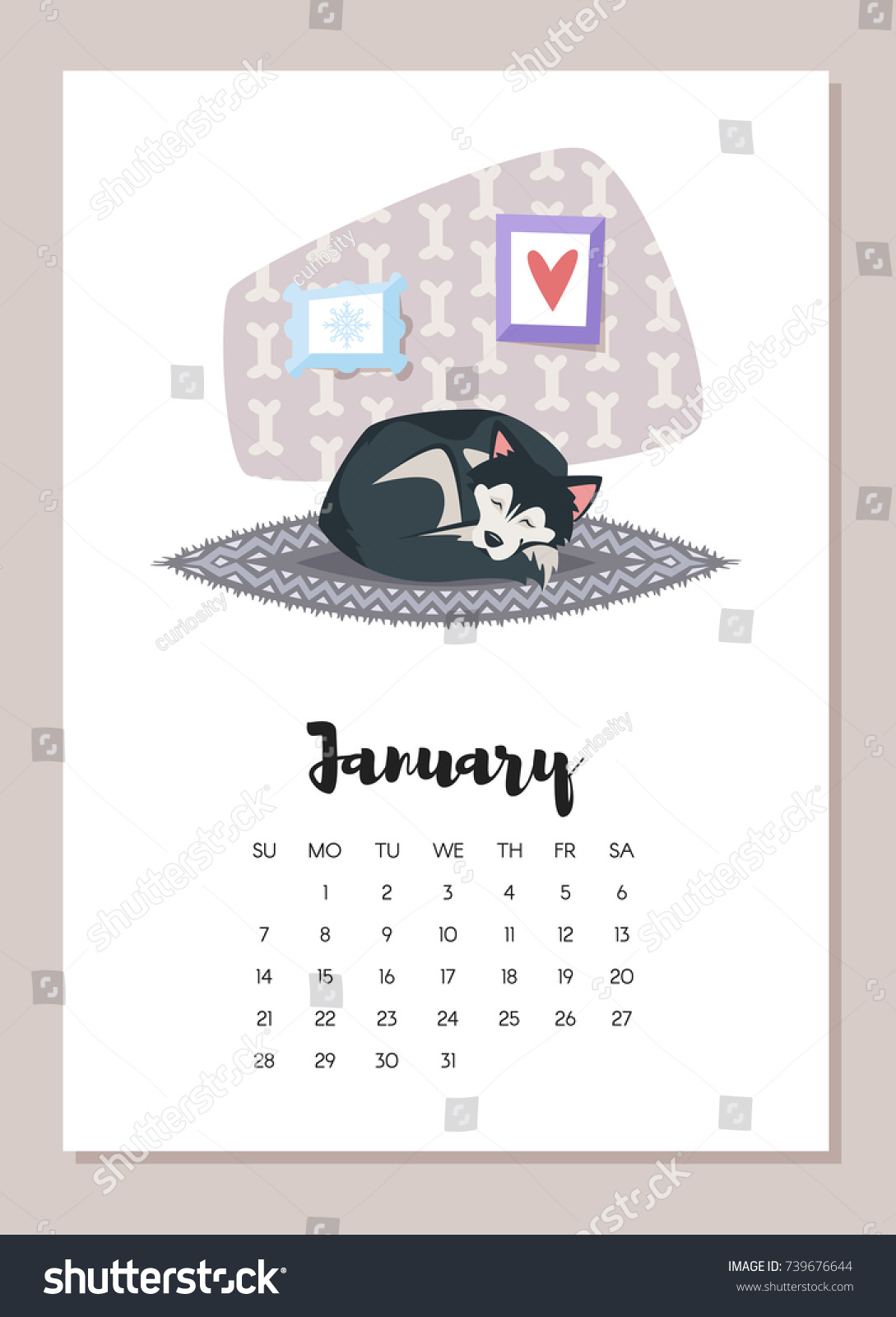 vector cartoon style illustration of january dog 2018 year calendar page isolated on white background