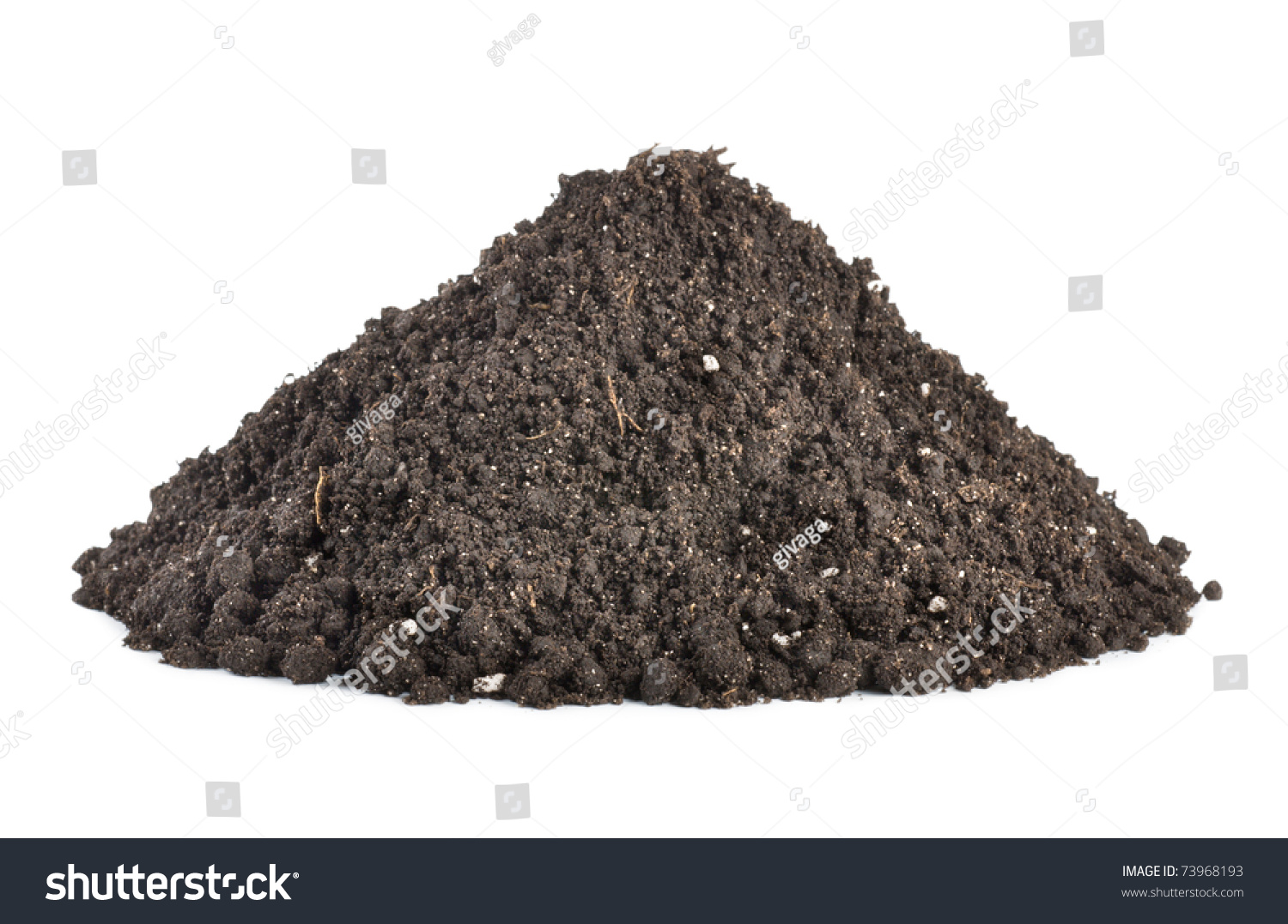 Pile of soil isolated on white background stock photo for Uses of soil in english