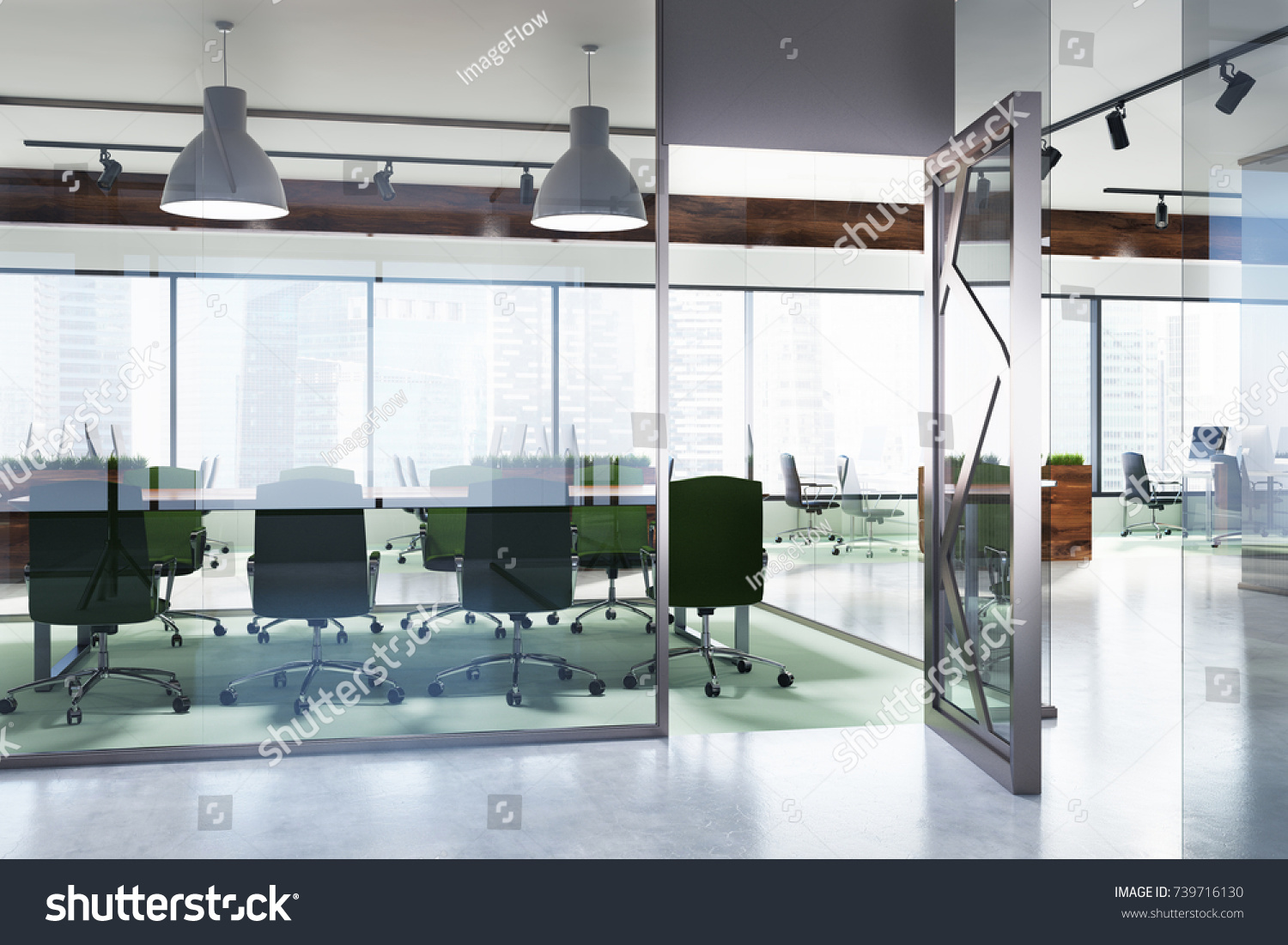 Environment Friendly Style Office Interior Concrete Stock