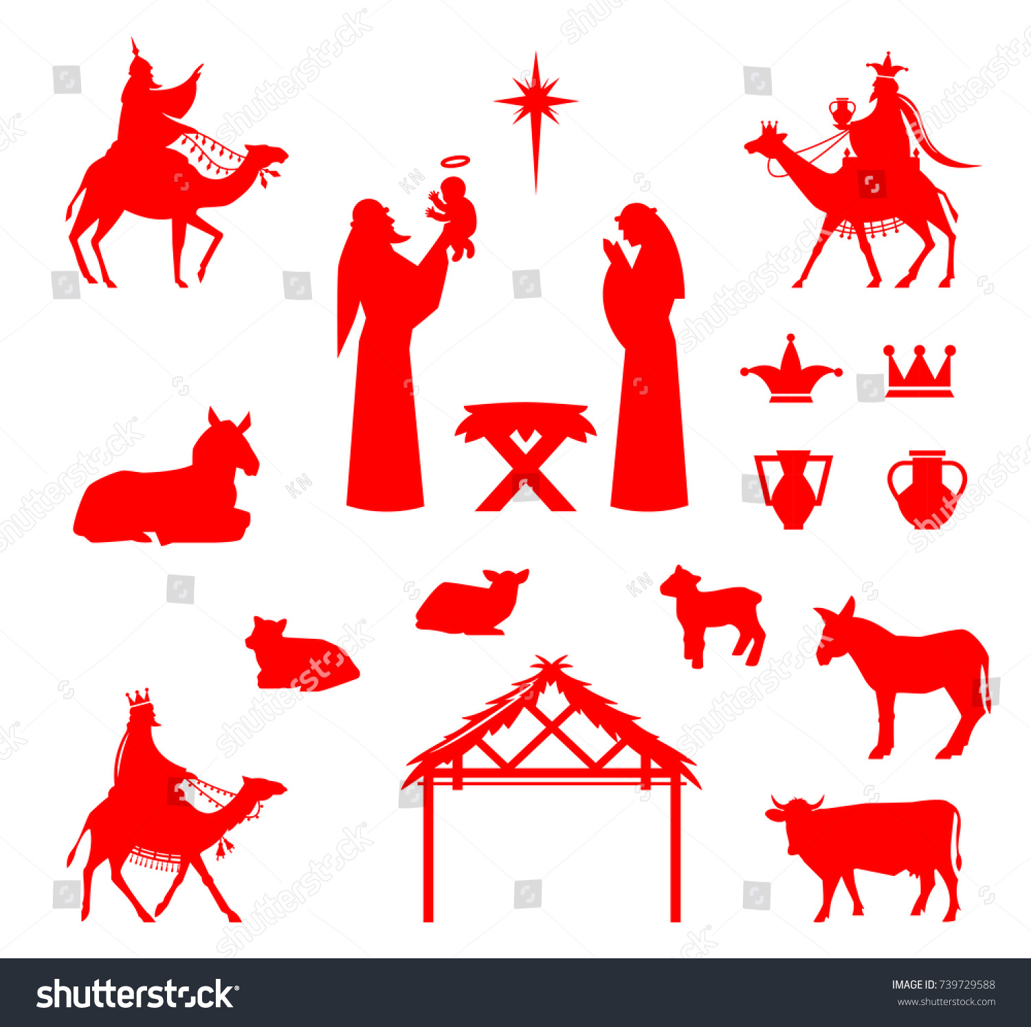 Set silhouettes traditional christian christmas nativity stock traditional christian christmas nativity scene of baby jesus in the manger with buycottarizona Image collections
