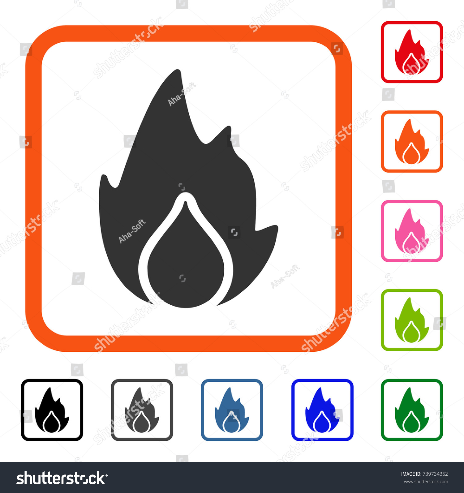 Fire water drop icon flat gray stock vector 739734352 shutterstock fire and water drop icon flat gray pictogram symbol inside an orange rounded square biocorpaavc Choice Image