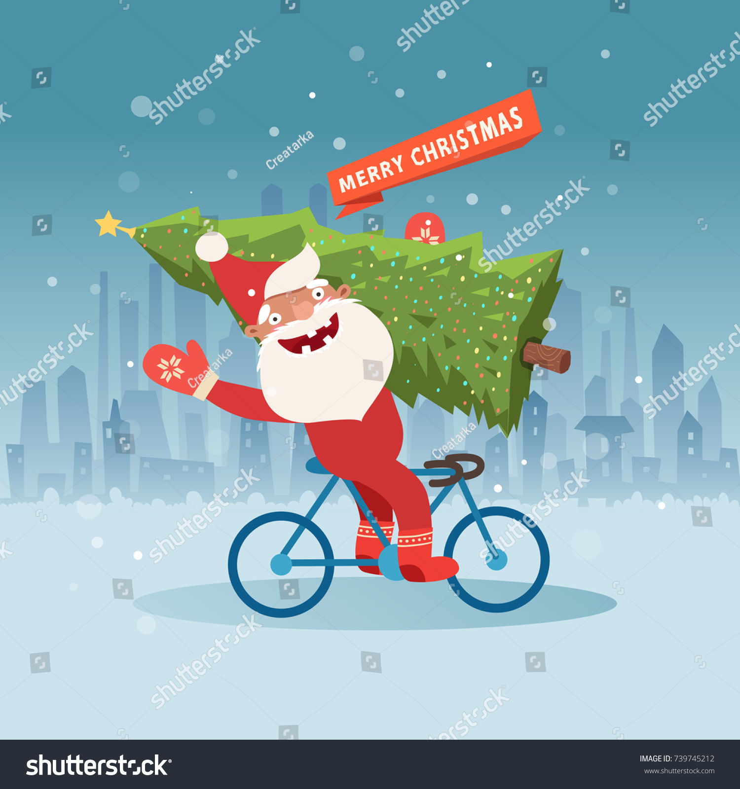 Cute Santa Claus On Bicycle Christmas Stock Vector (Royalty Free ...