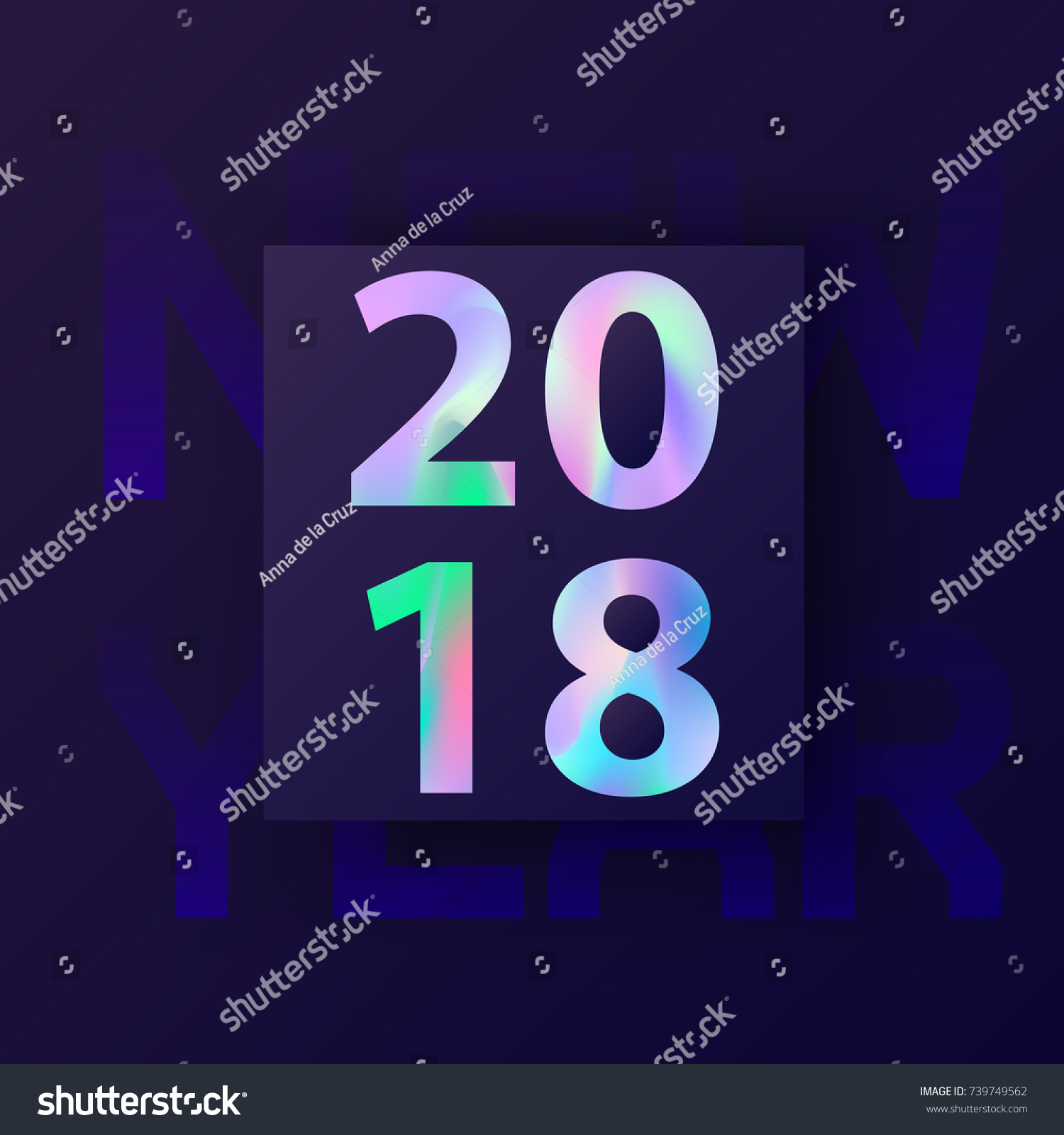 new year card with holographic 2018 modern creative covers design in stylish 80s abstract