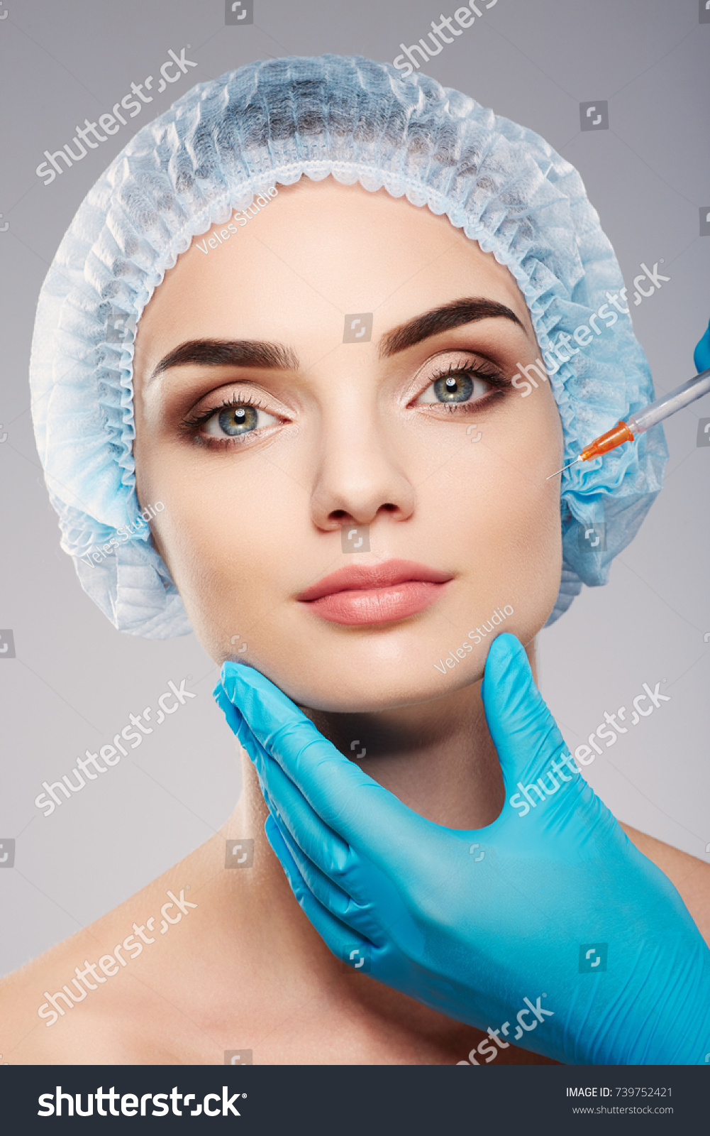 Attractive Girl Thick Eyebrows Wearing Blue Stock Photo Edit Now