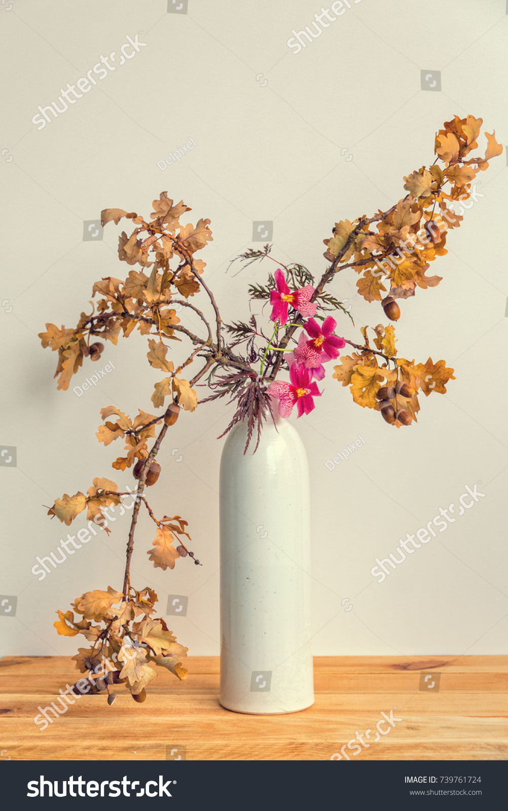 Autumnal Ikebana Japanese Flower Arrangement Oak Stock Photo Edit