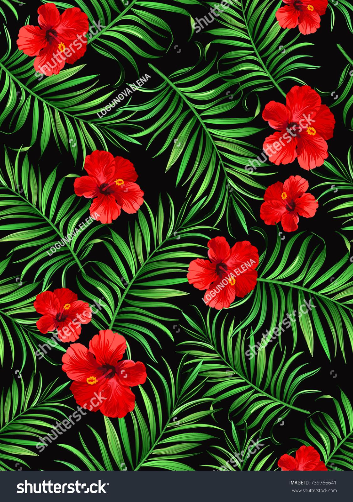 Exotic tropical background hawaiian plants flowers stock vector exotic tropical background with hawaiian plants and flowers seamless vector pattern izmirmasajfo