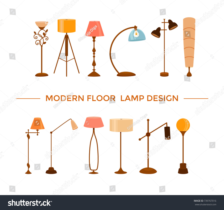 Set Colorful Cartoon Floor Lamps Light Stock Vector 739767016 ... for Floor Lamp Clipart  174mzq
