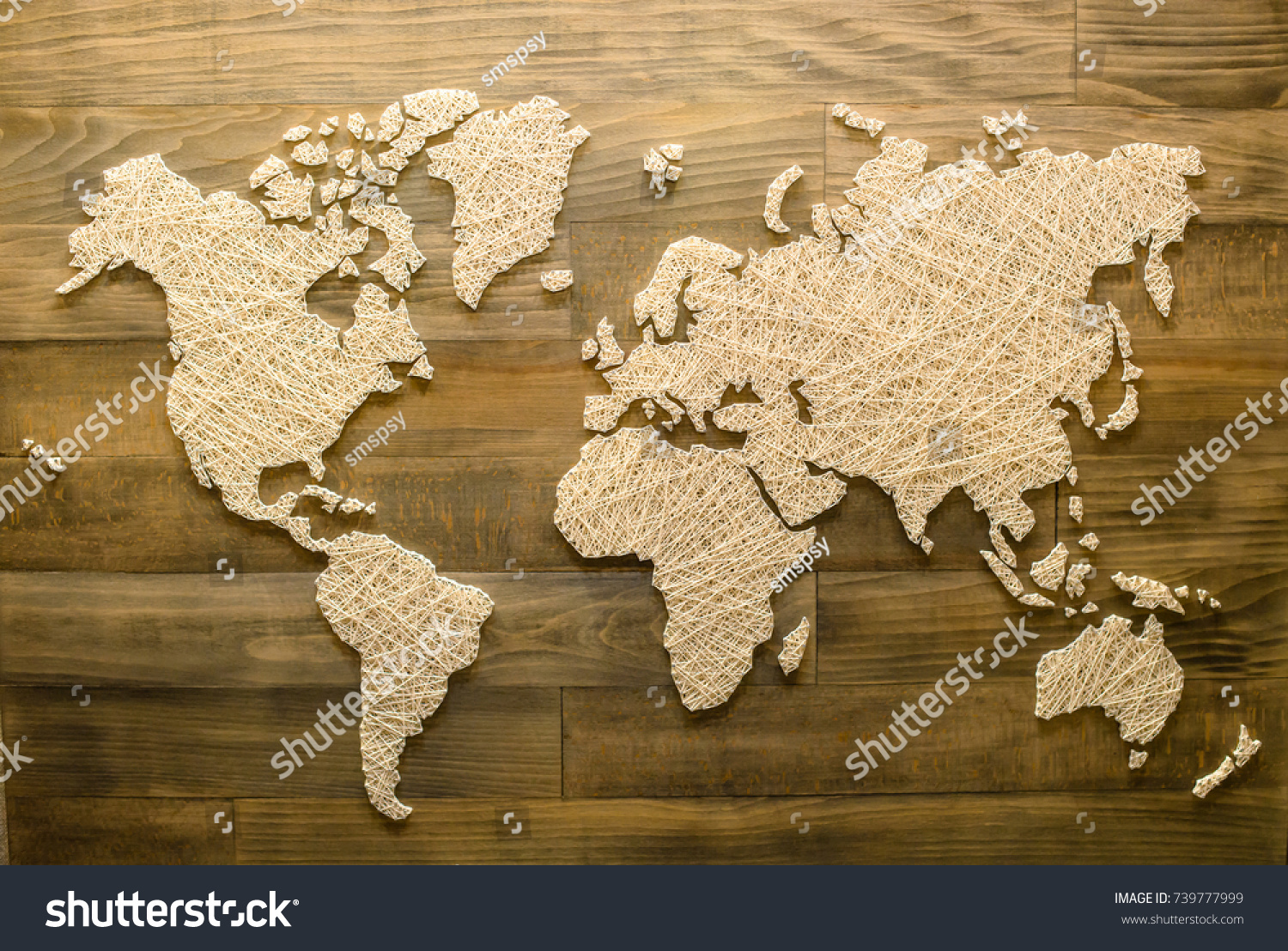 Handmade World Map On Wooden Background Stock Photo (Royalty Free ...