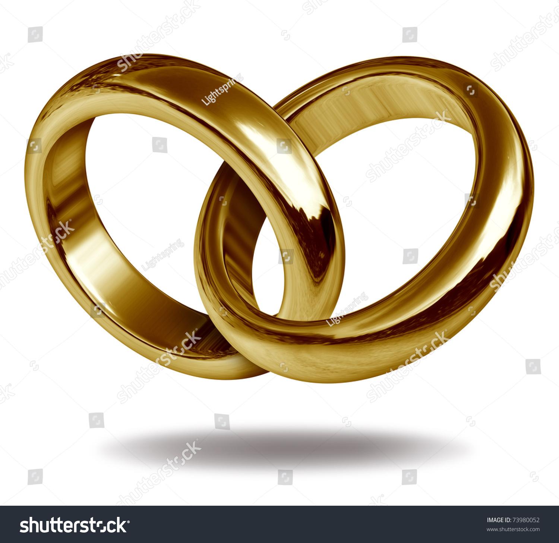 Rings Linked Together Form Golden Shape Stock Illustration